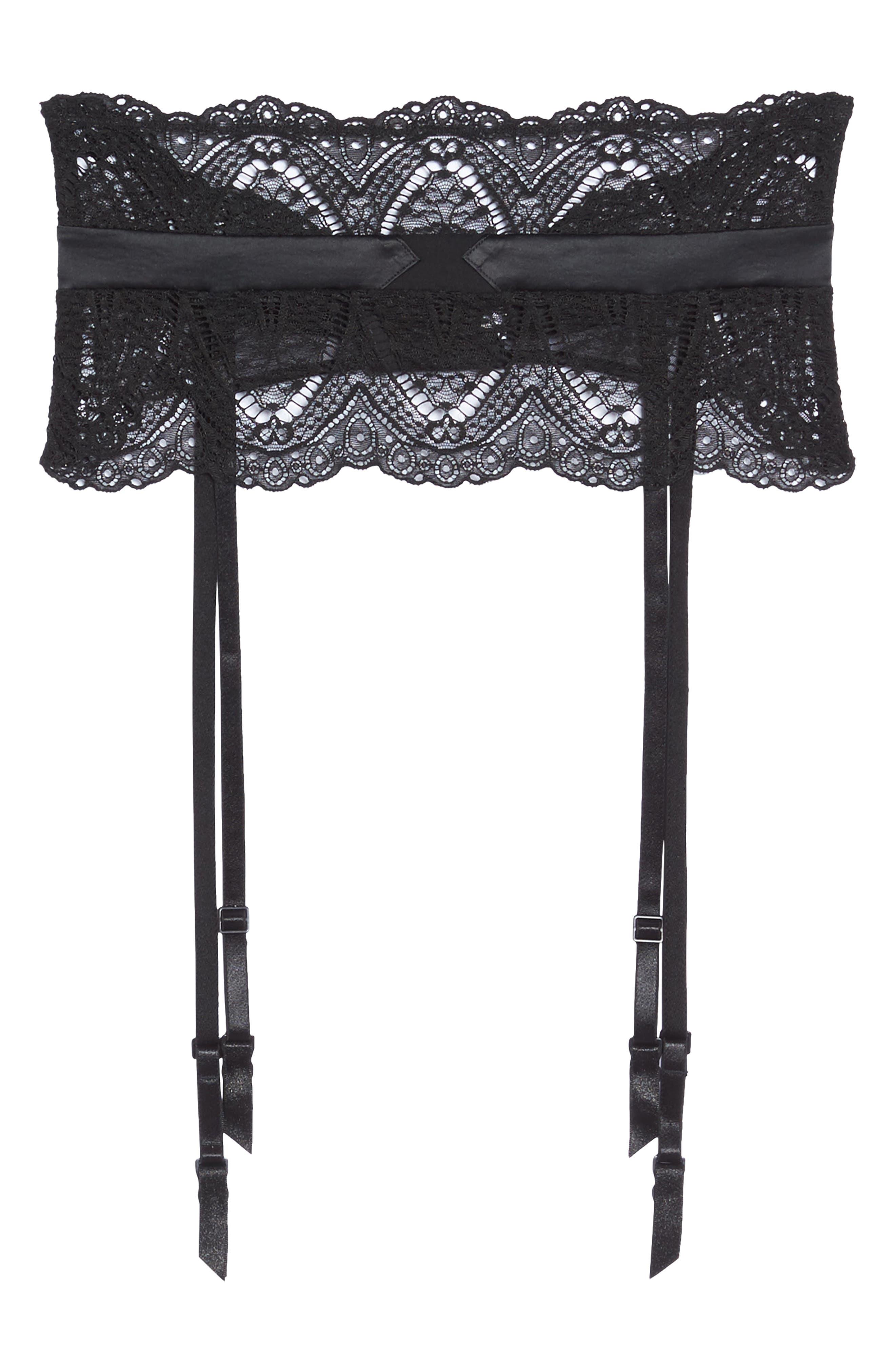 Black Lace Garter Belt,                             Alternate thumbnail 4, color,                             Black