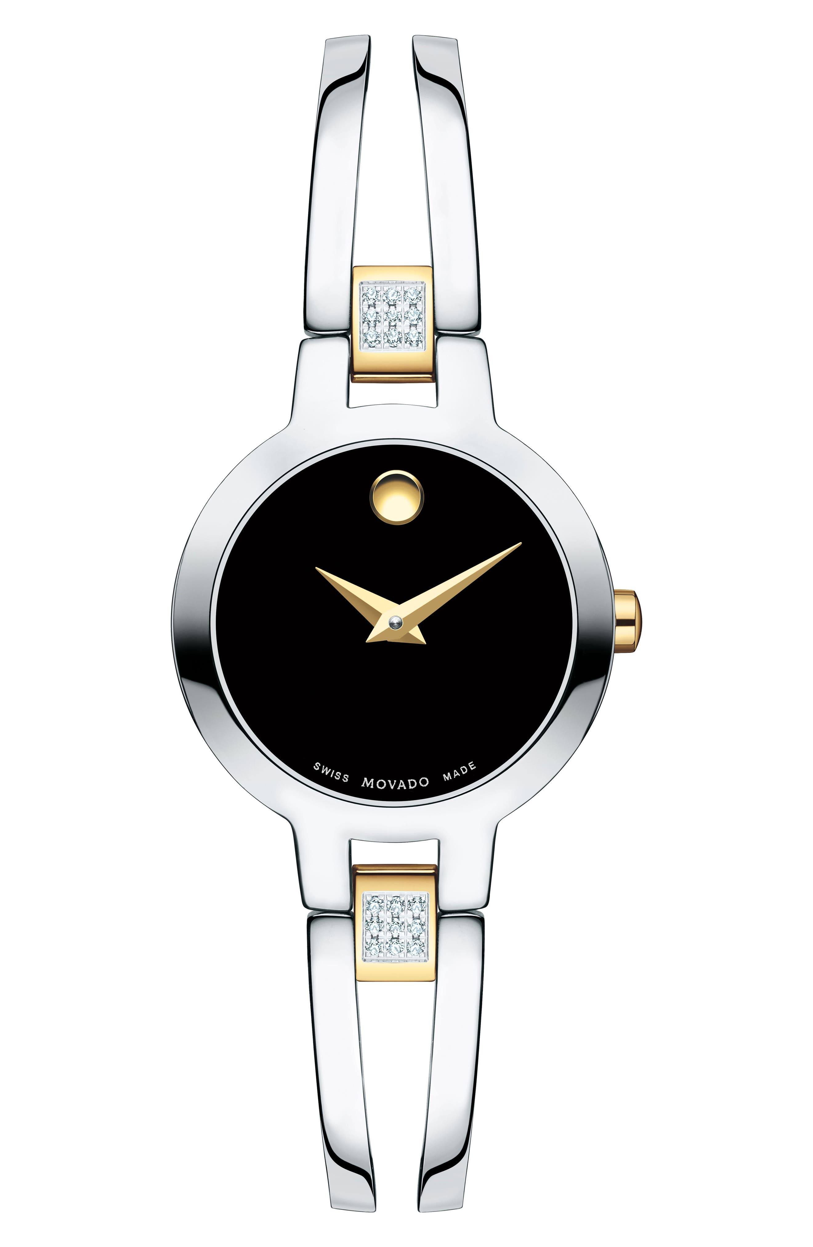 Movado Amorosa Diamond And Stainless Steel Bracelet Watch In Silver/ Black/ Silver