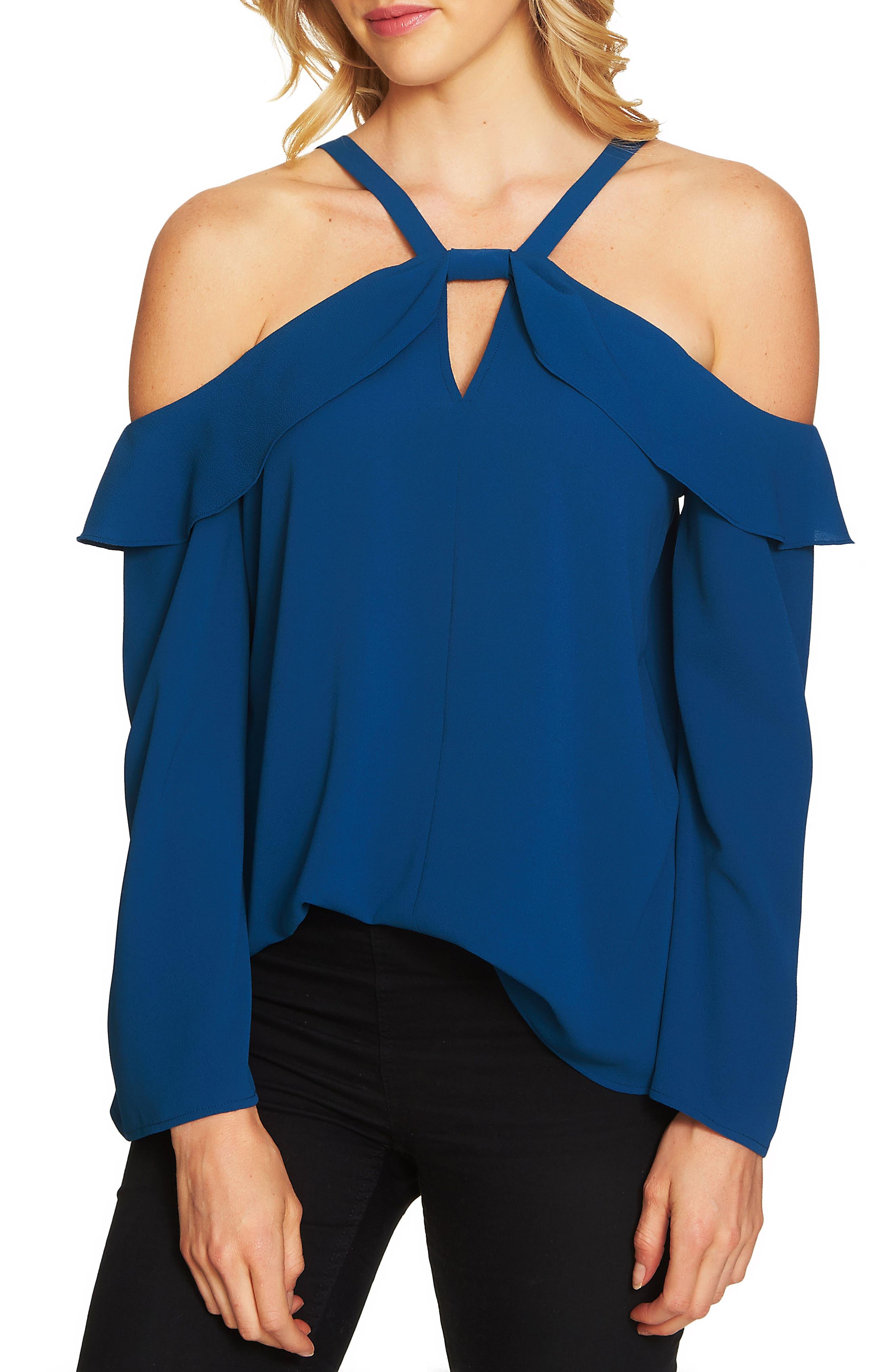 Keyhole Cold Shoulder Top,                         Main,                         color, Port Blue