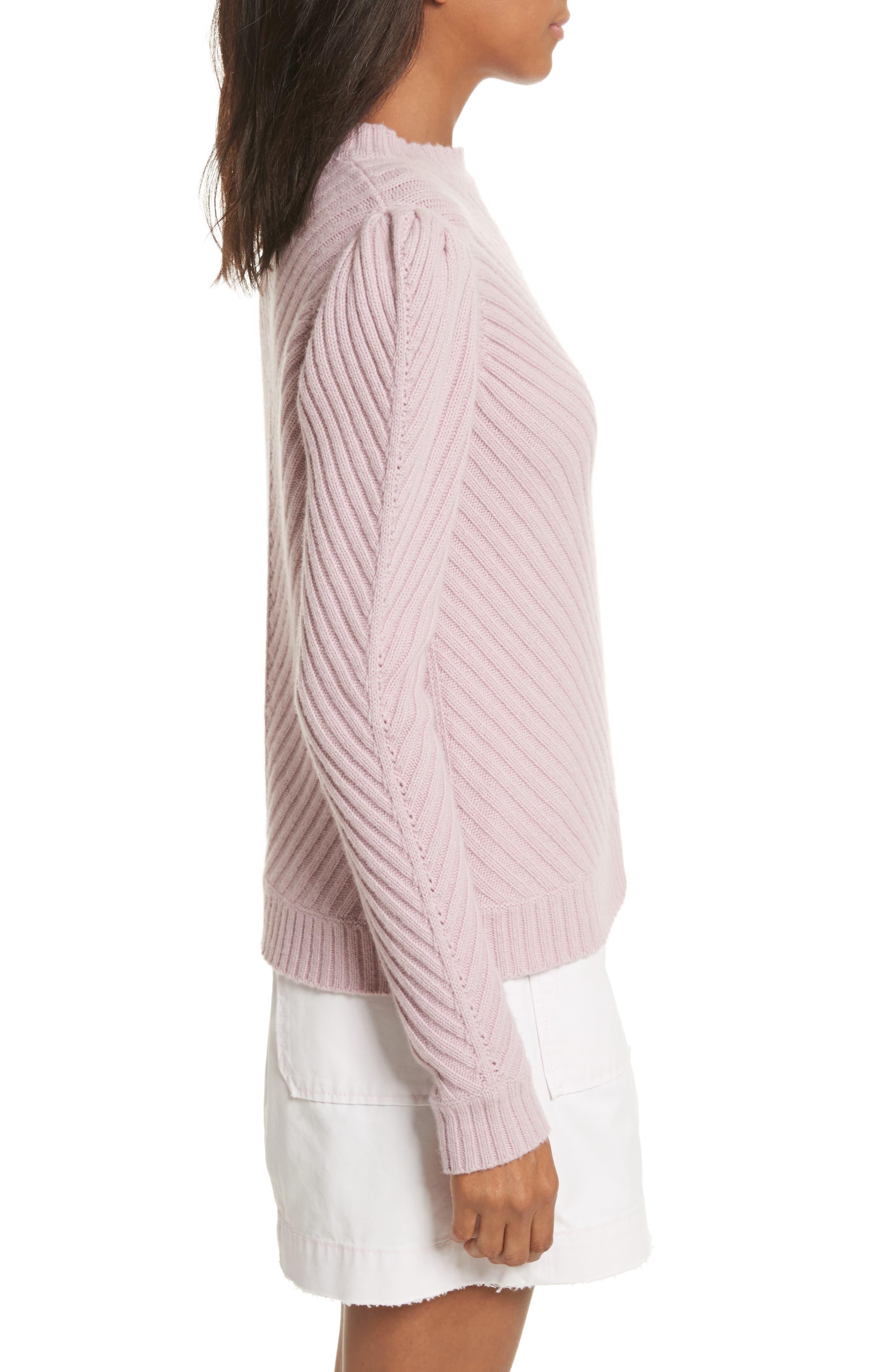 Ribbed Knit Pullover,                             Alternate thumbnail 3, color,                             Mauve