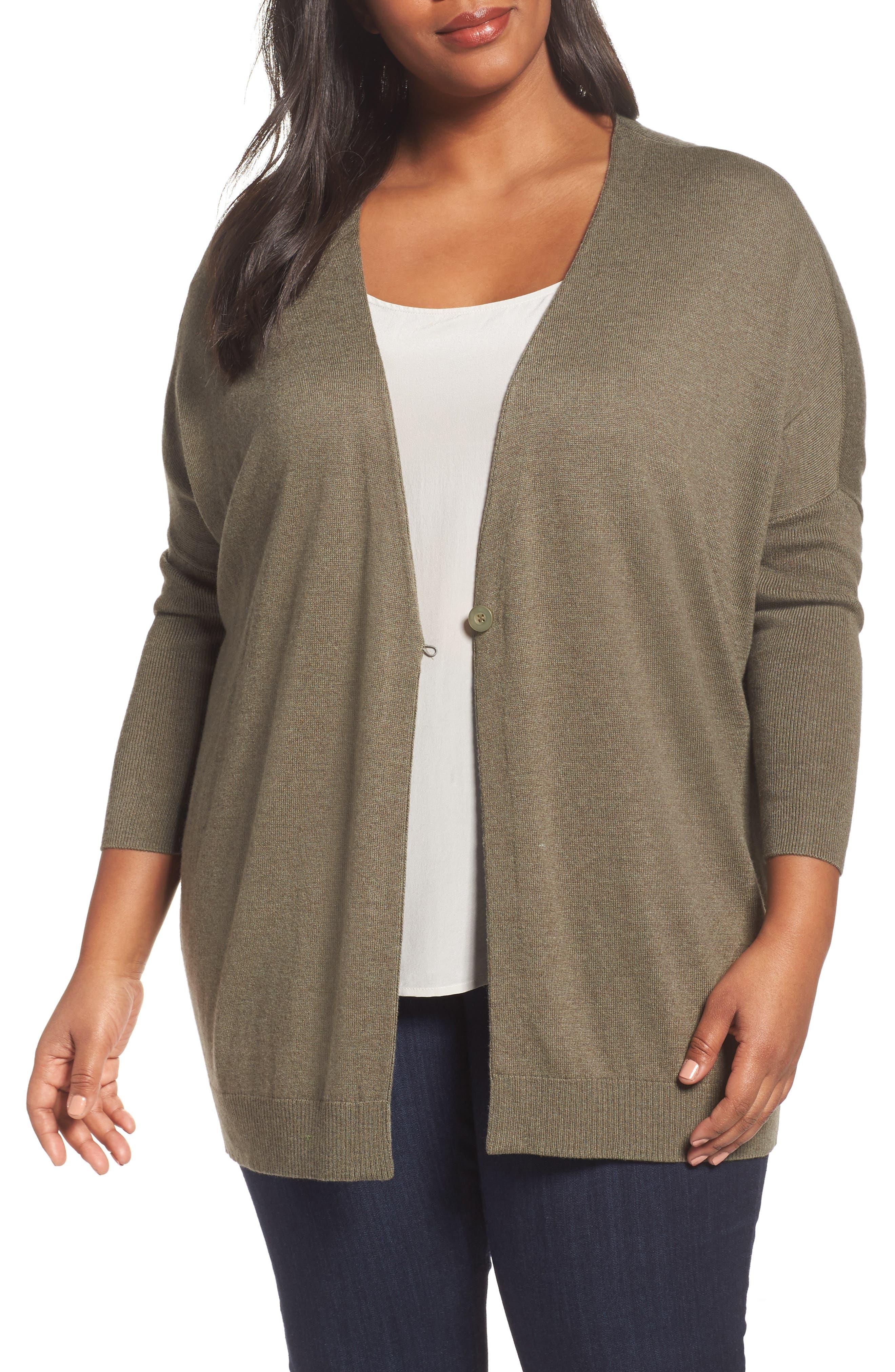 Sejour One-Button Dolman Sweater (Plus Size)
