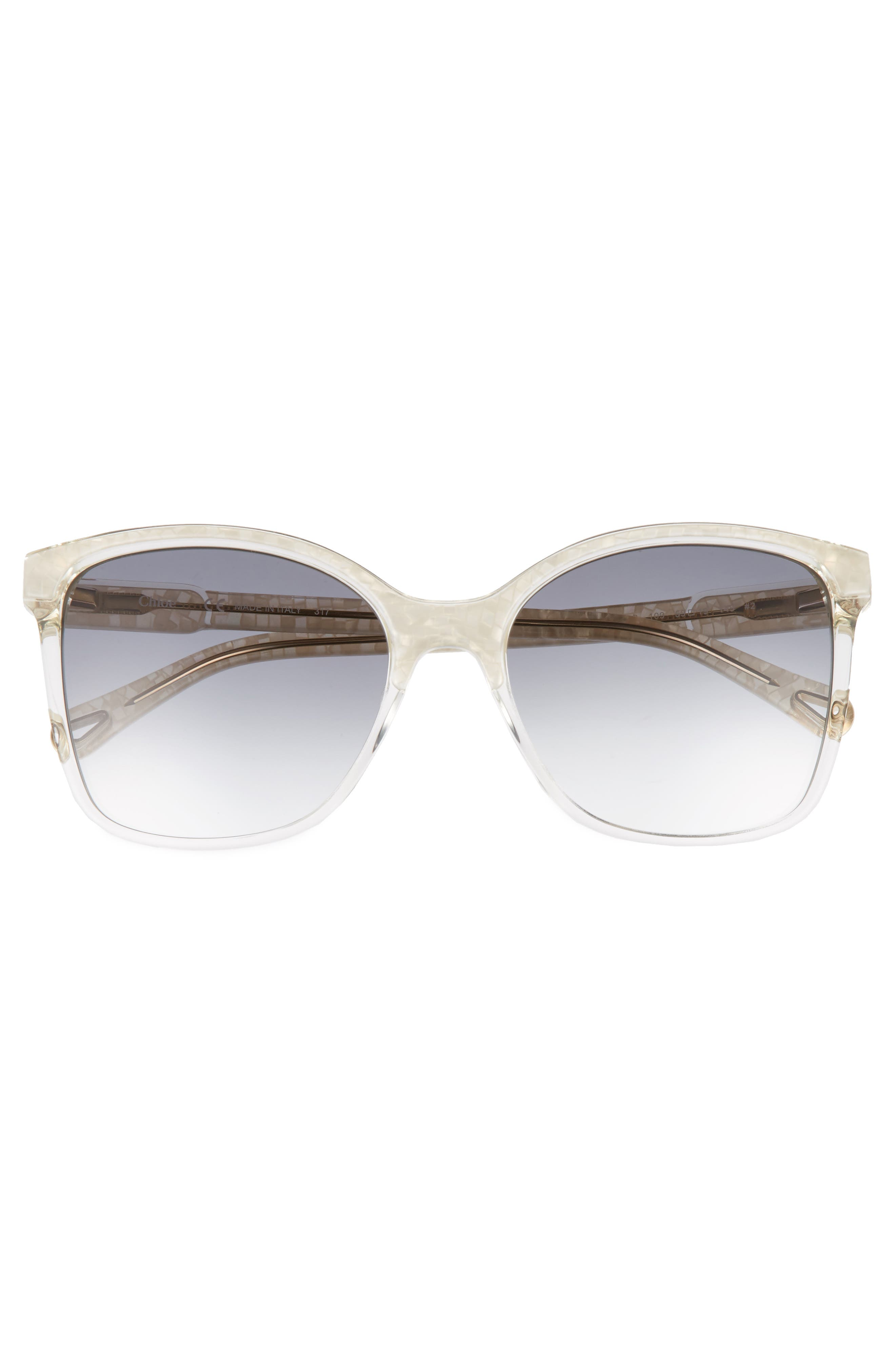59mm Brow Bar Sunglasses,                             Alternate thumbnail 3, color,                             Pearl/ Champagne
