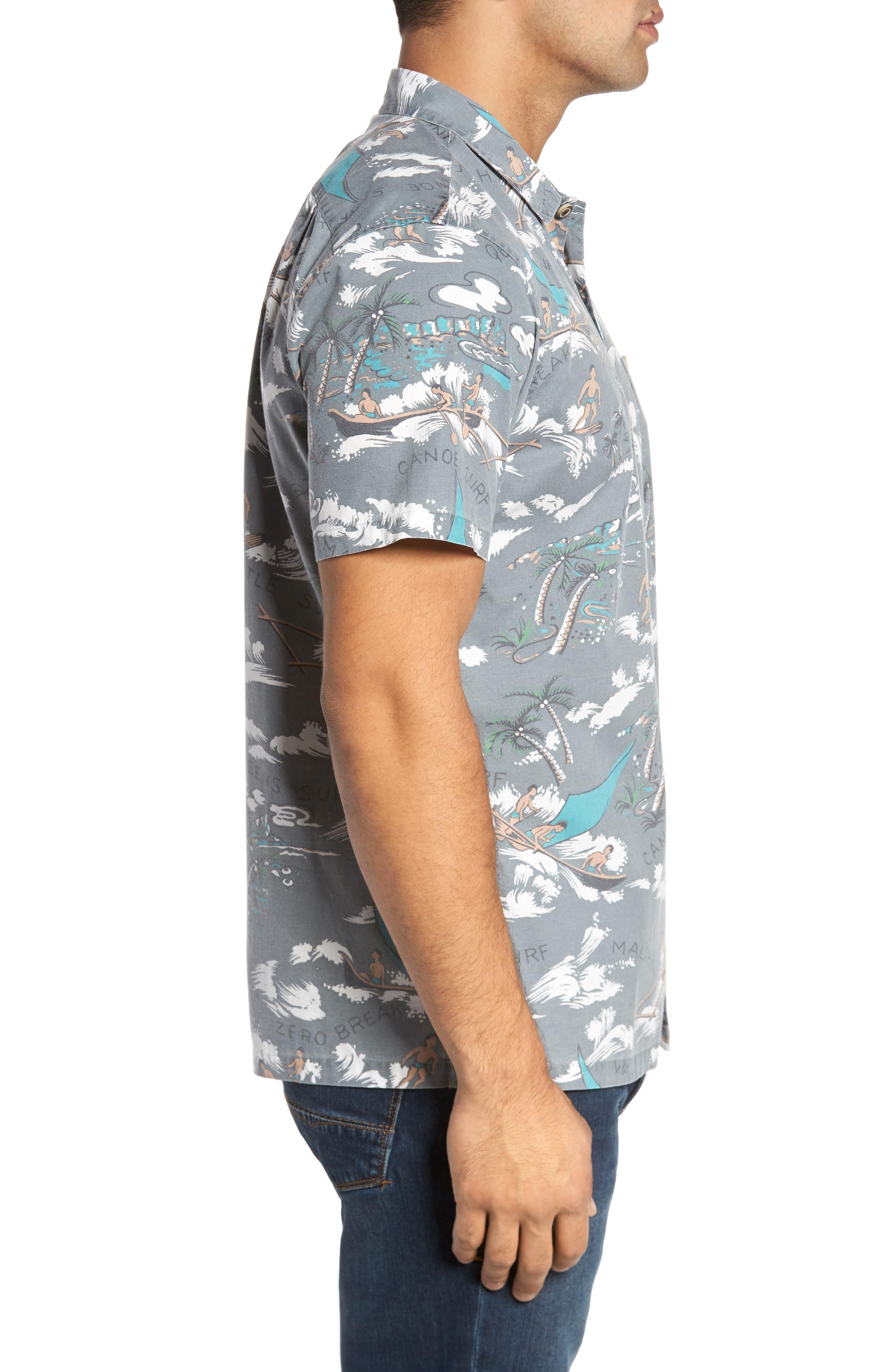 Malihini Trim Fit Print Sport Shirt,                             Alternate thumbnail 3, color,                             Grey