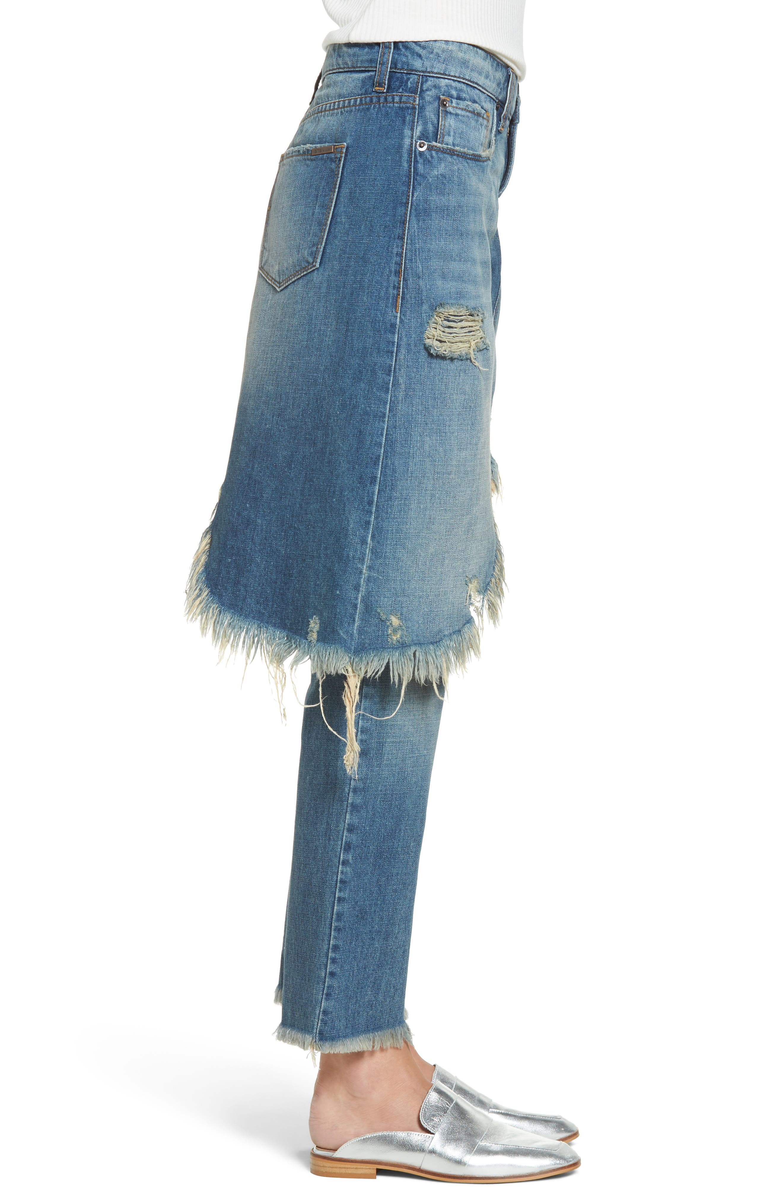Alternate Image 3  - STS Blue Layered Ripped Skirt Jeans