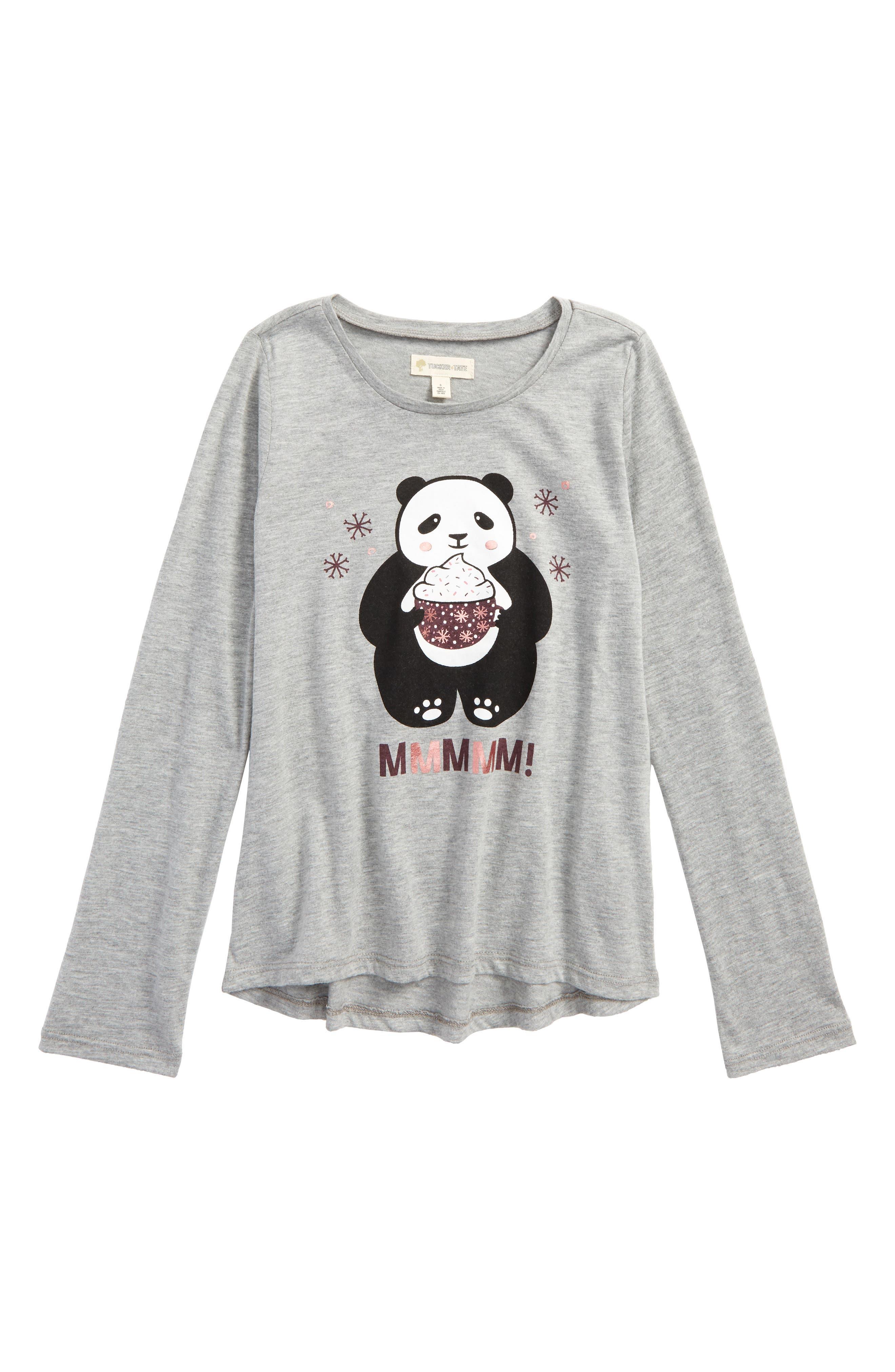 Graphic Tee,                         Main,                         color, Grey Medium Heather Cute Panda