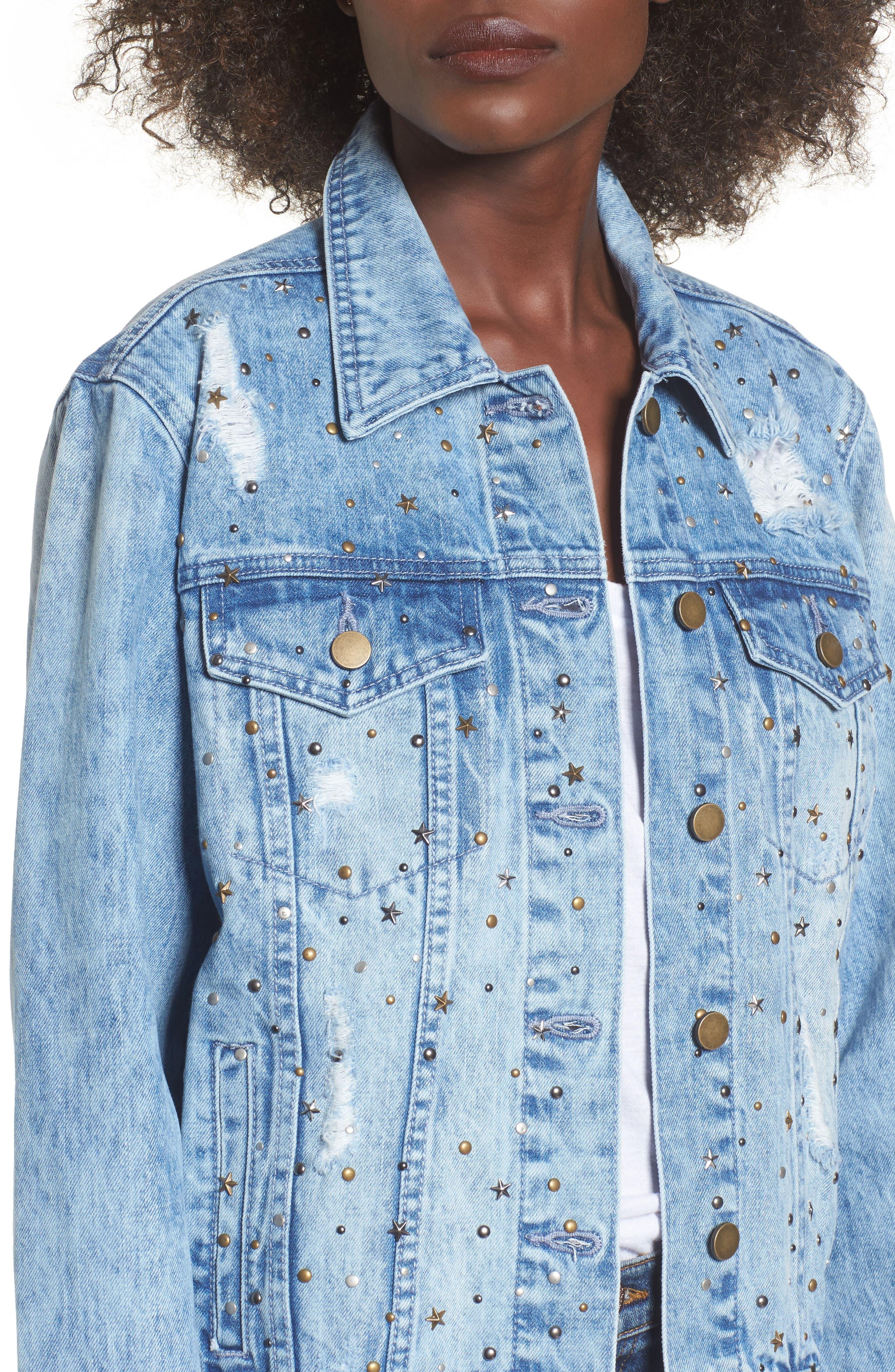 Star & Stud Denim Jacket,                             Alternate thumbnail 4, color,                             Blue
