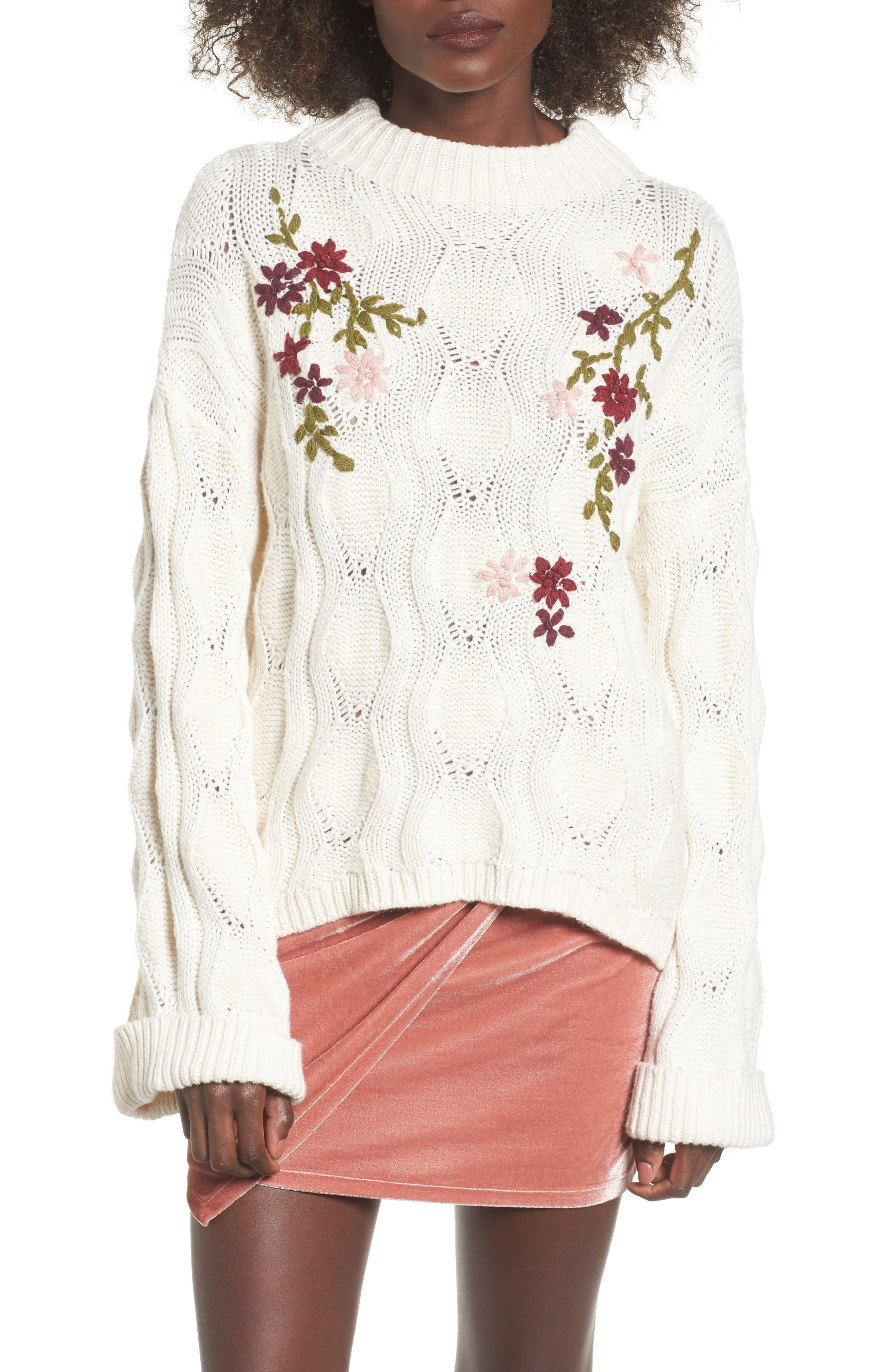 Embroidered Knit Sweater,                         Main,                         color, Ivory Egret