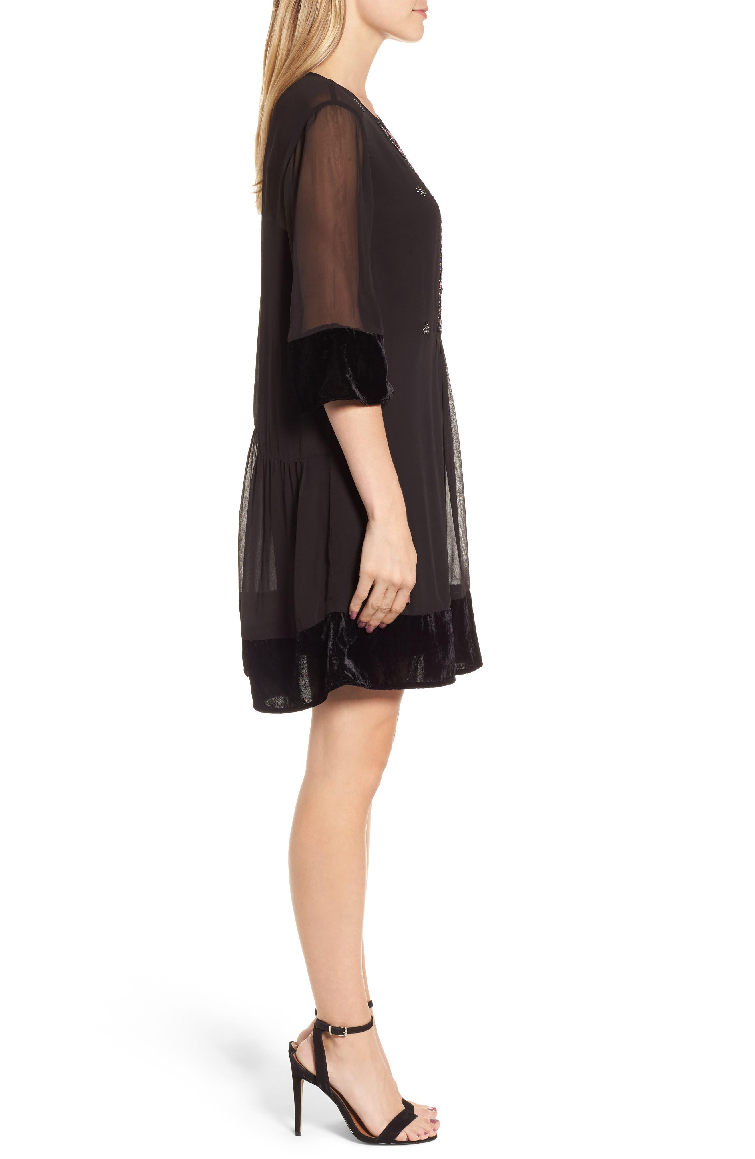 Beaded Velvet Georgette Dress,                             Alternate thumbnail 3, color,                             Black