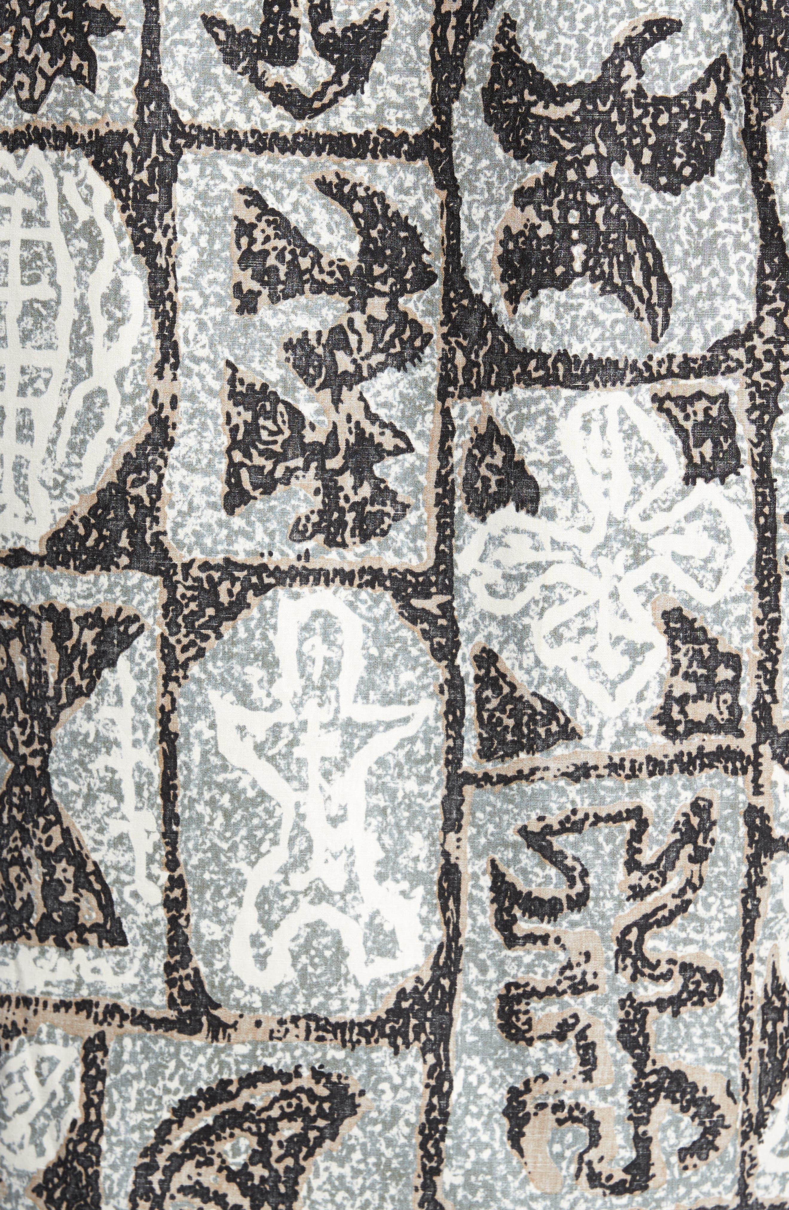 Poi Pounder Trim Fit Print Sport Shirt,                             Alternate thumbnail 5, color,                             Black