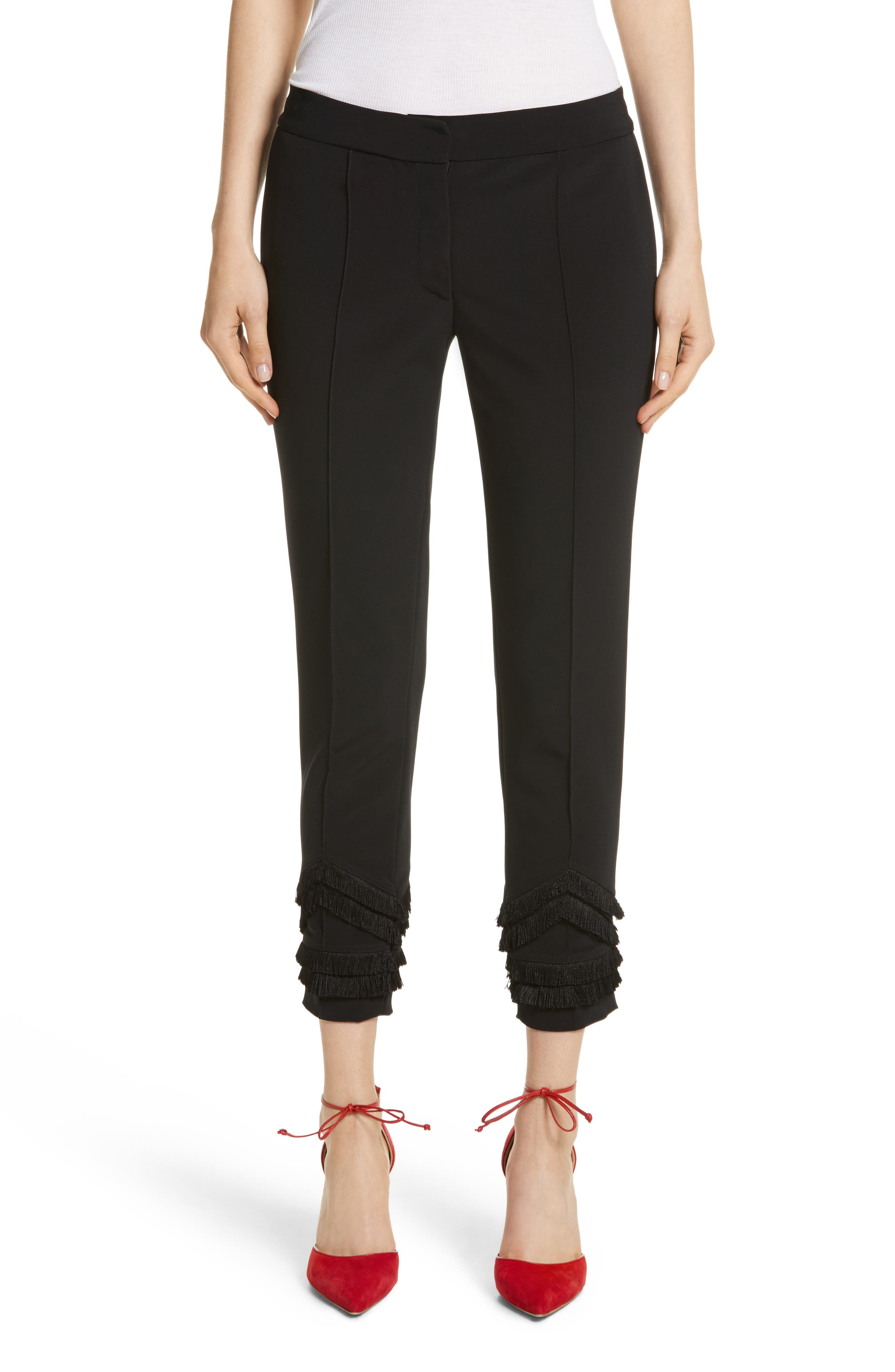 Fringe Detail Bi-Stretch Pants,                         Main,                         color, Jet