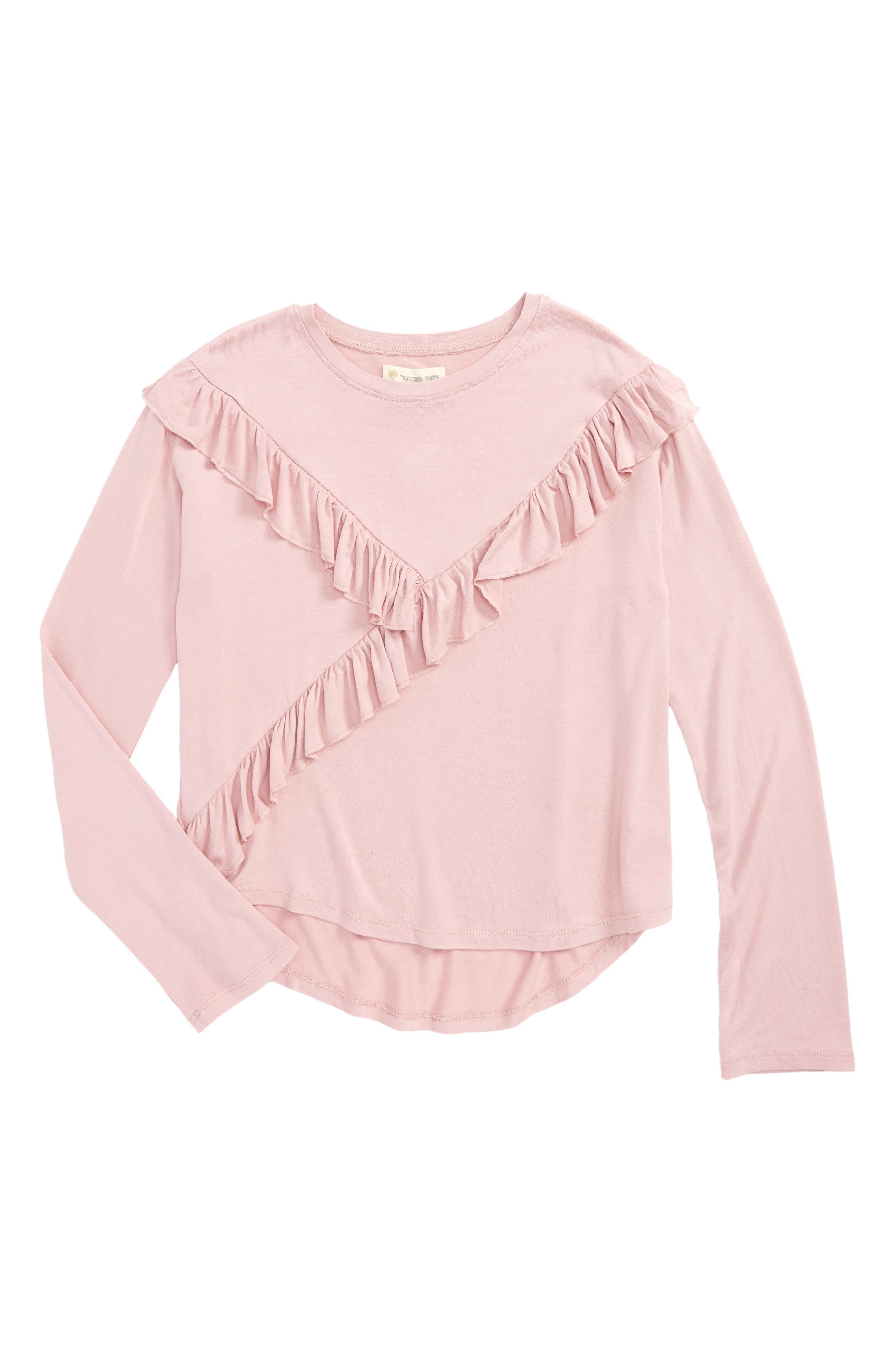 Ruffle Tee,                         Main,                         color, Pink Zephyr