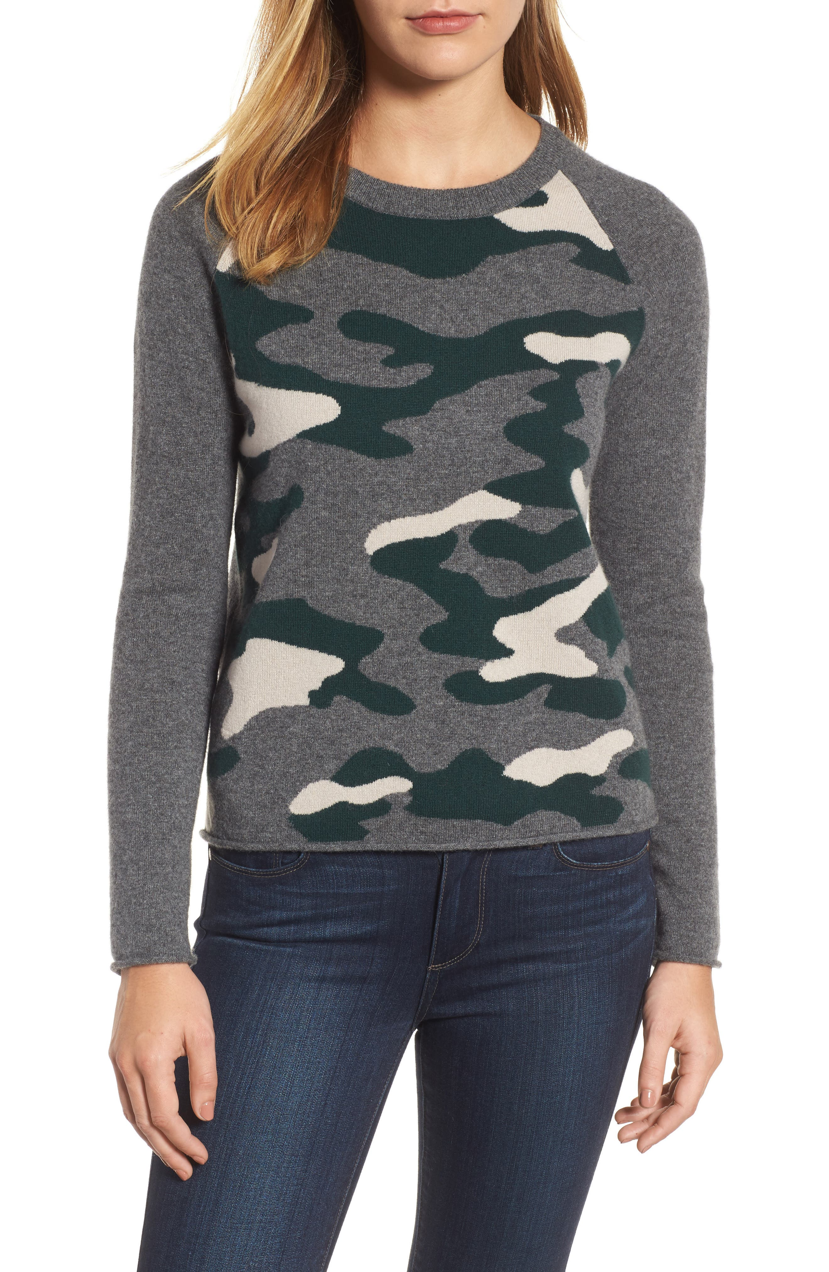 Camo Cashmere Sweater,                             Main thumbnail 1, color,                             Multi