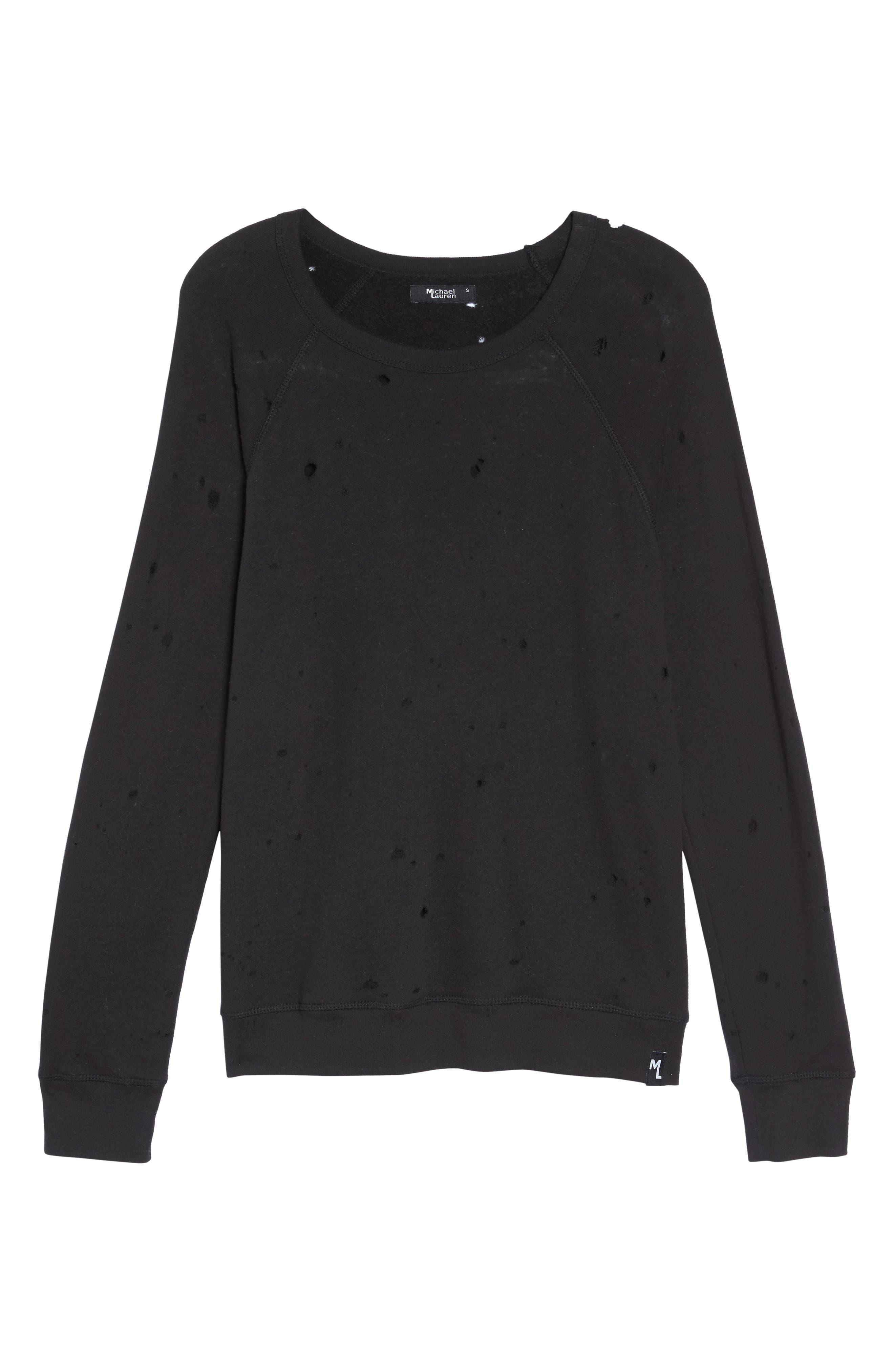 Alternate Image 4  - Michael Lauren Destroyed Lounge Sweatshirt
