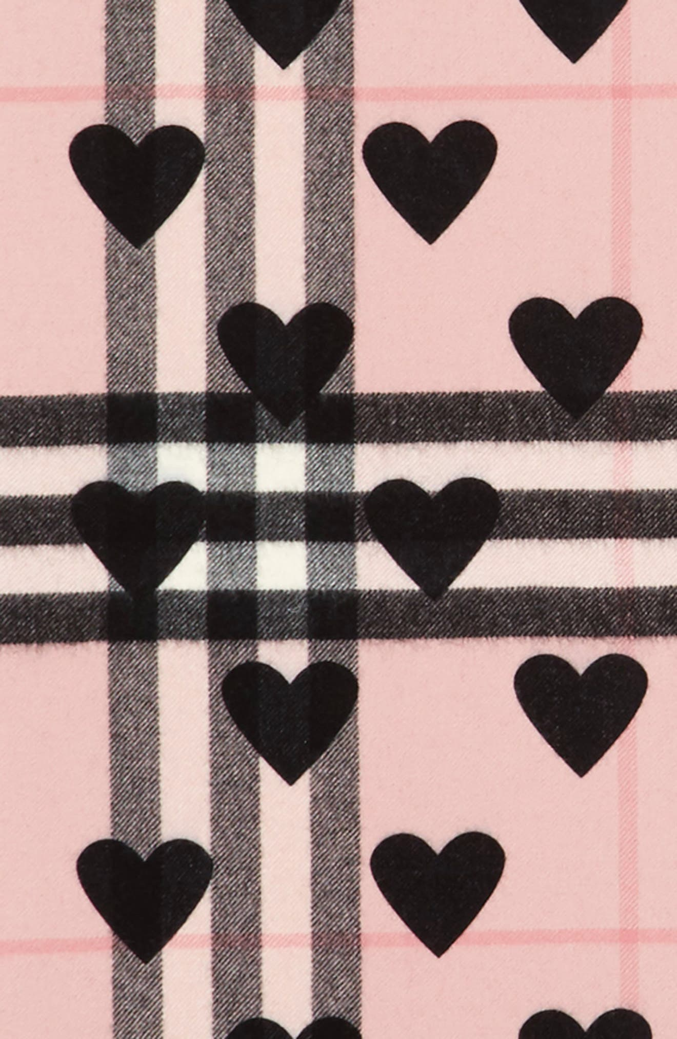 Alternate Image 2  - Burberry Heart & Giant Check Fringed Cashmere Scarf