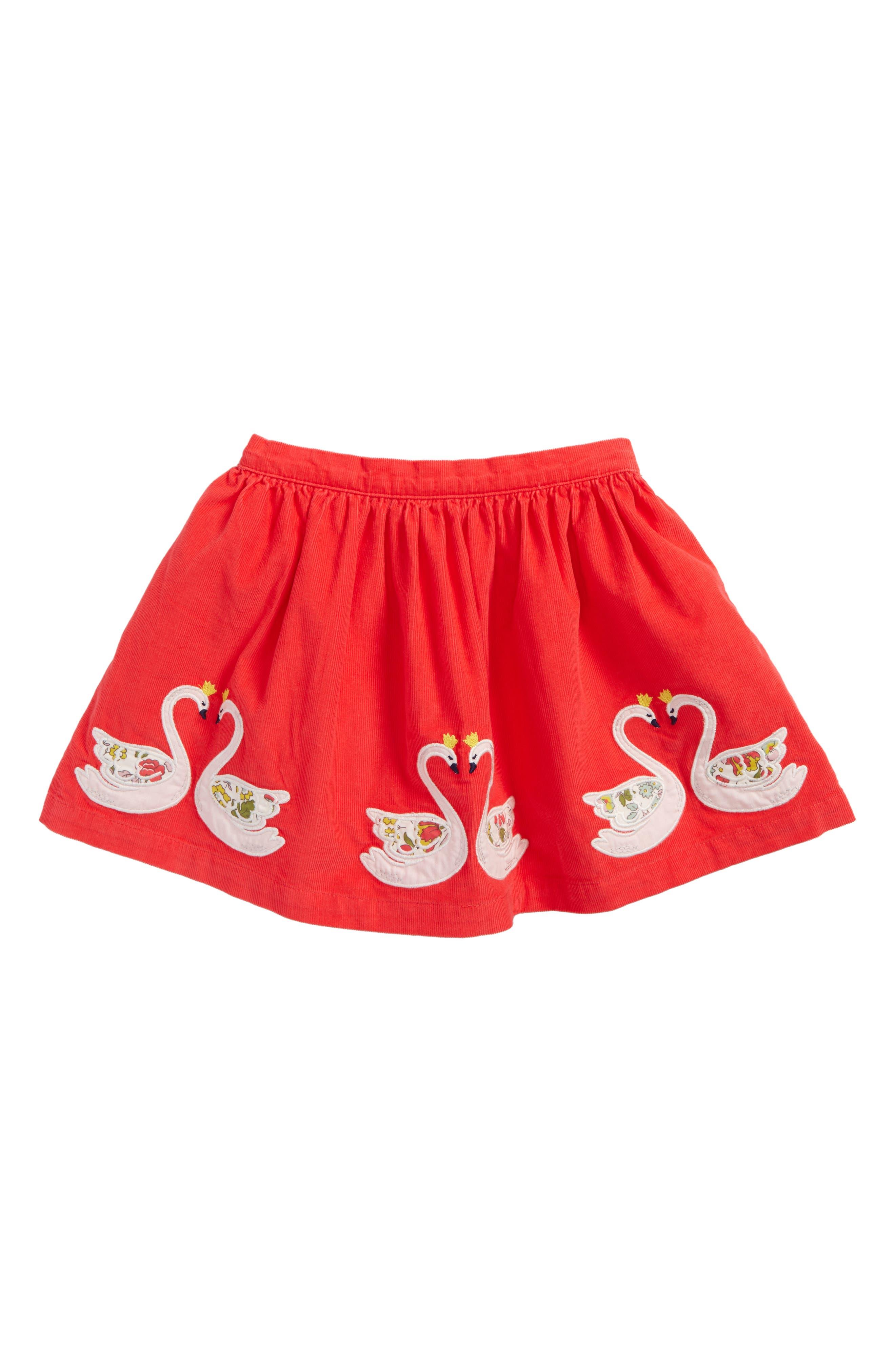 Fairytale Appliqué Corduroy Skirt,                             Main thumbnail 1, color,                             Pink Berry