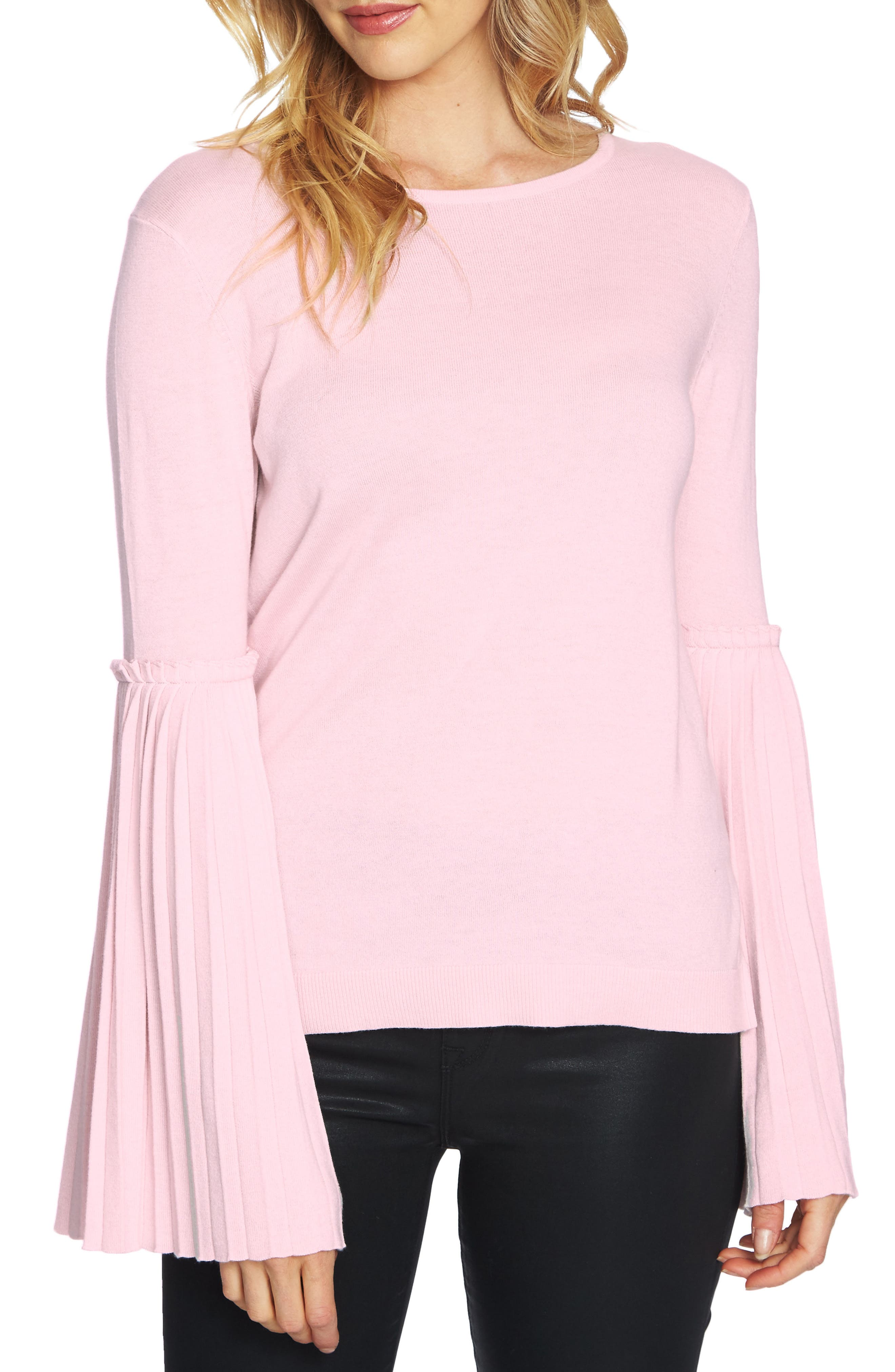 CeCe Pleated Bell Sleeve Sweater