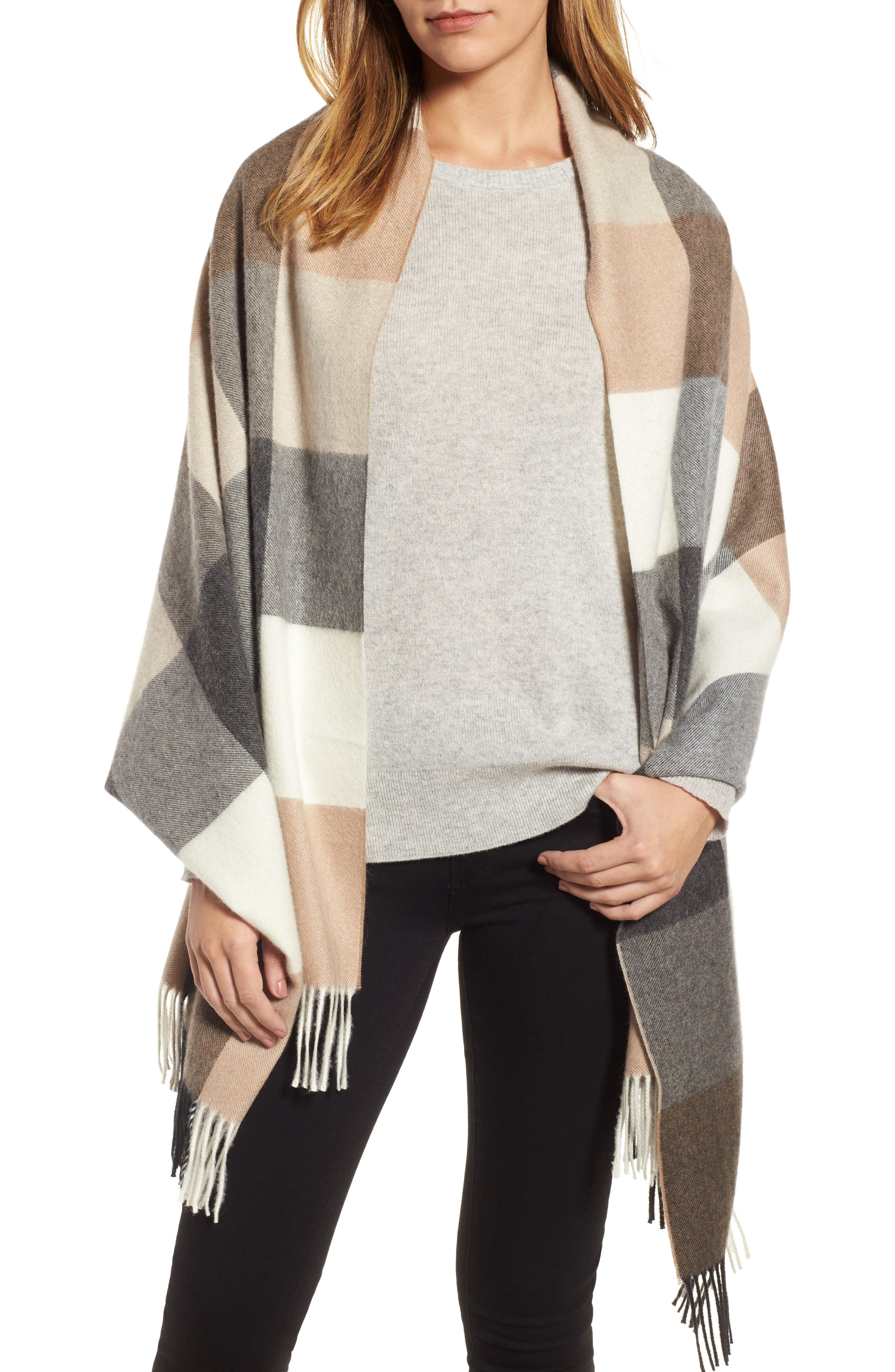 Alternate Image 1 Selected - Nordstrom Buffalo Check Cashmere Wrap