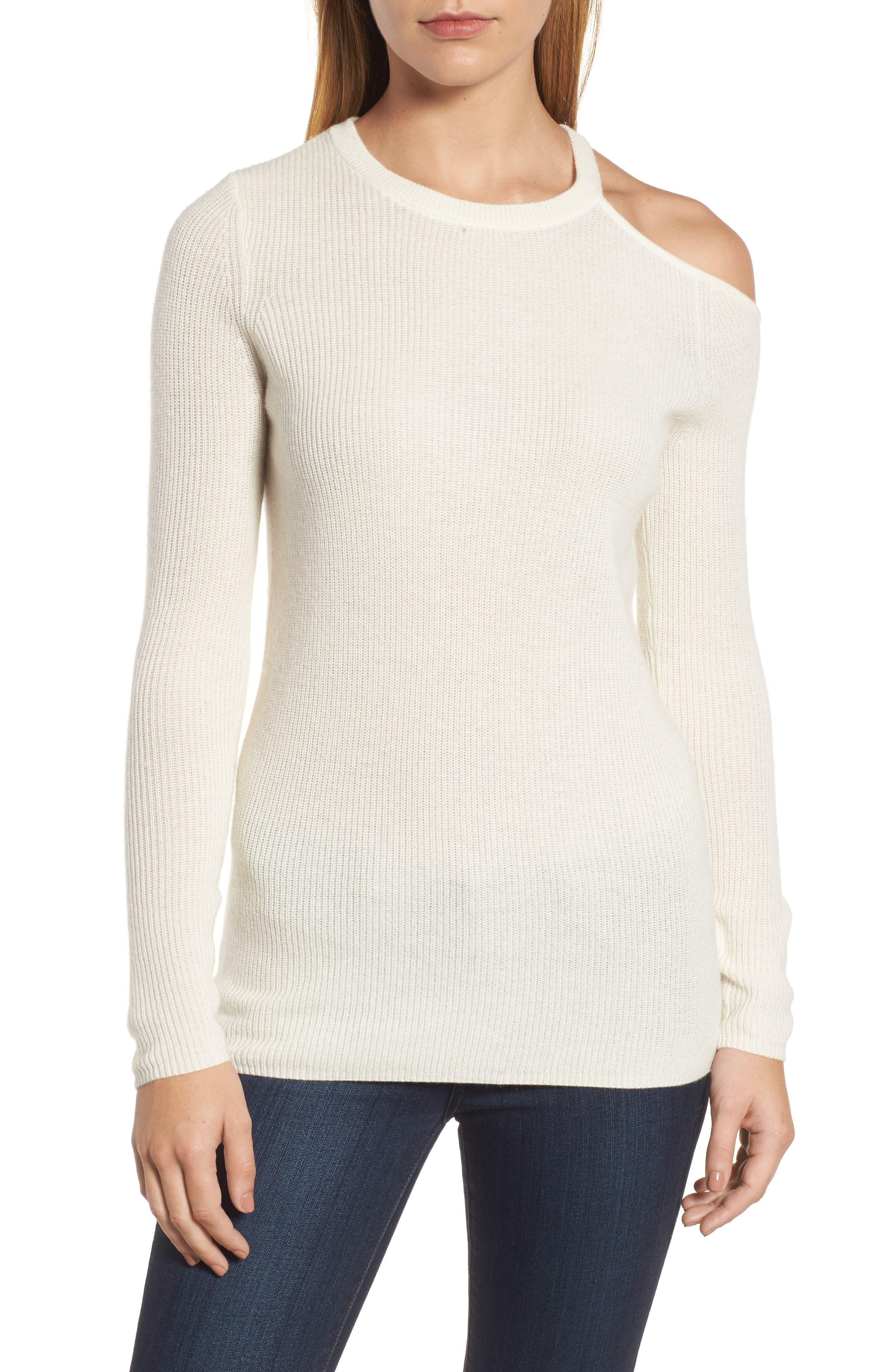 Cold Shoulder Cashmere Sweater,                             Main thumbnail 1, color,                             Milk