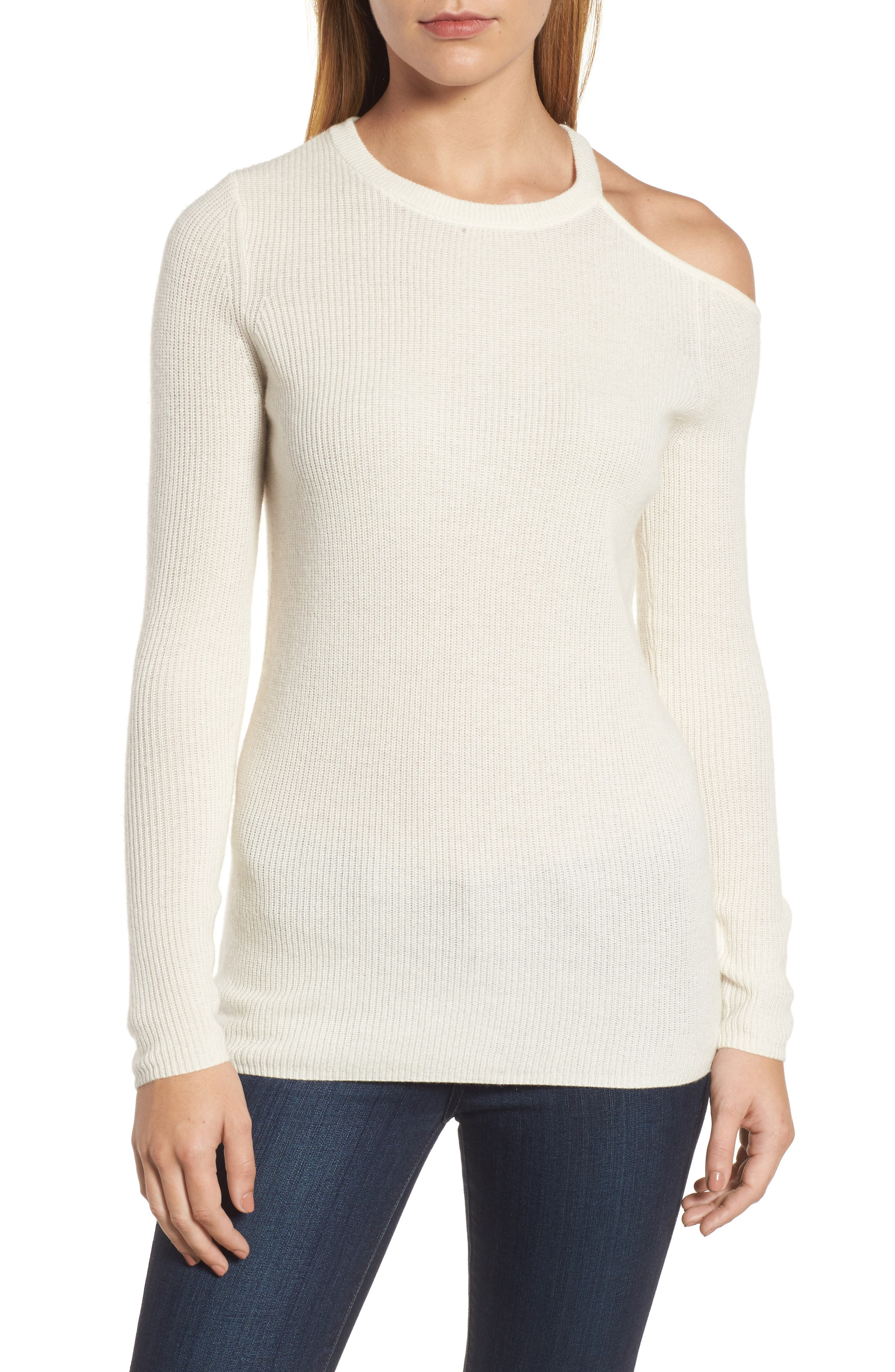 Cold Shoulder Cashmere Sweater,                         Main,                         color, Milk