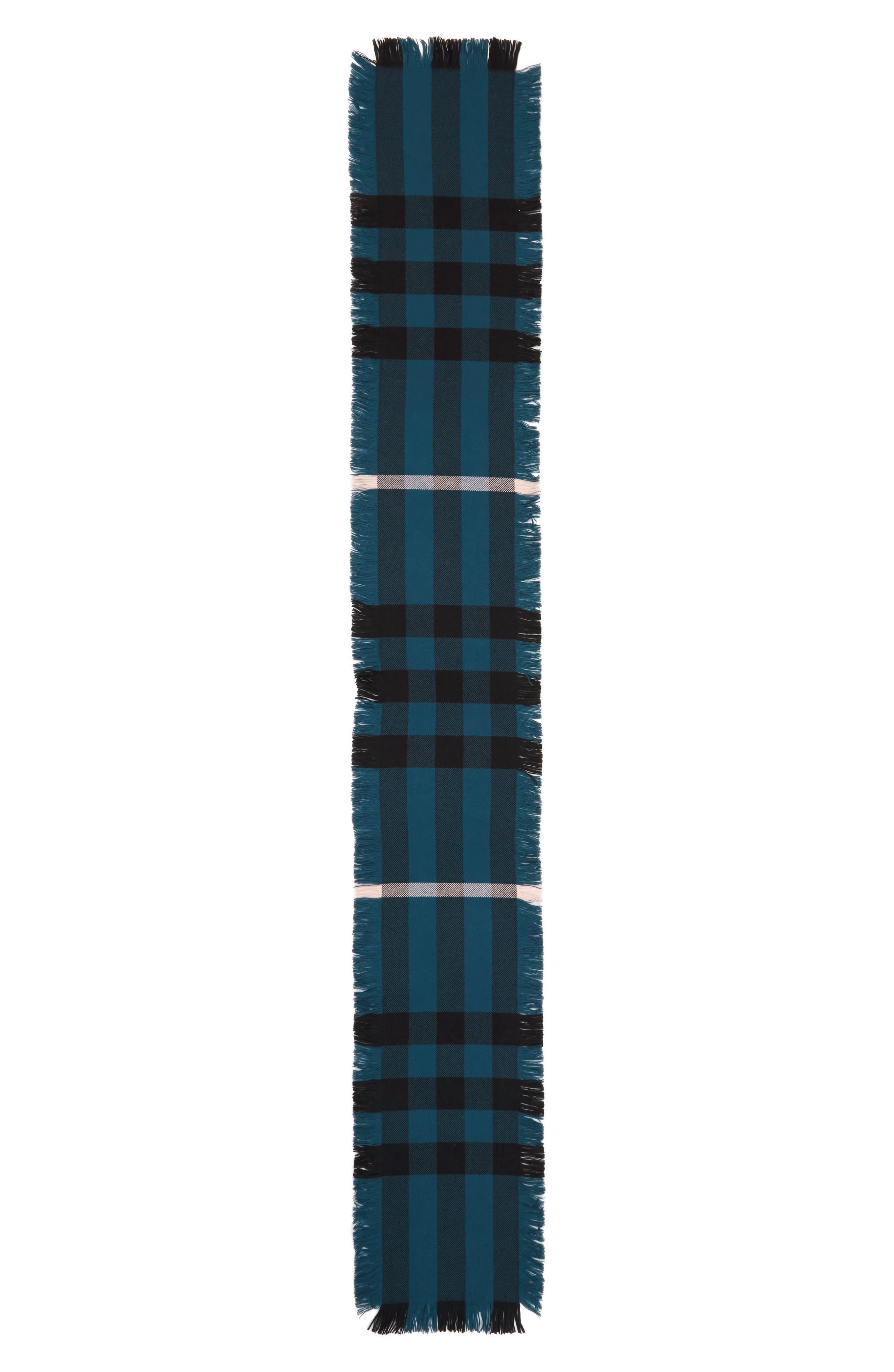 Half Mega Fashion Wool Fringe Scarf,                             Alternate thumbnail 2, color,                             Steel Blue