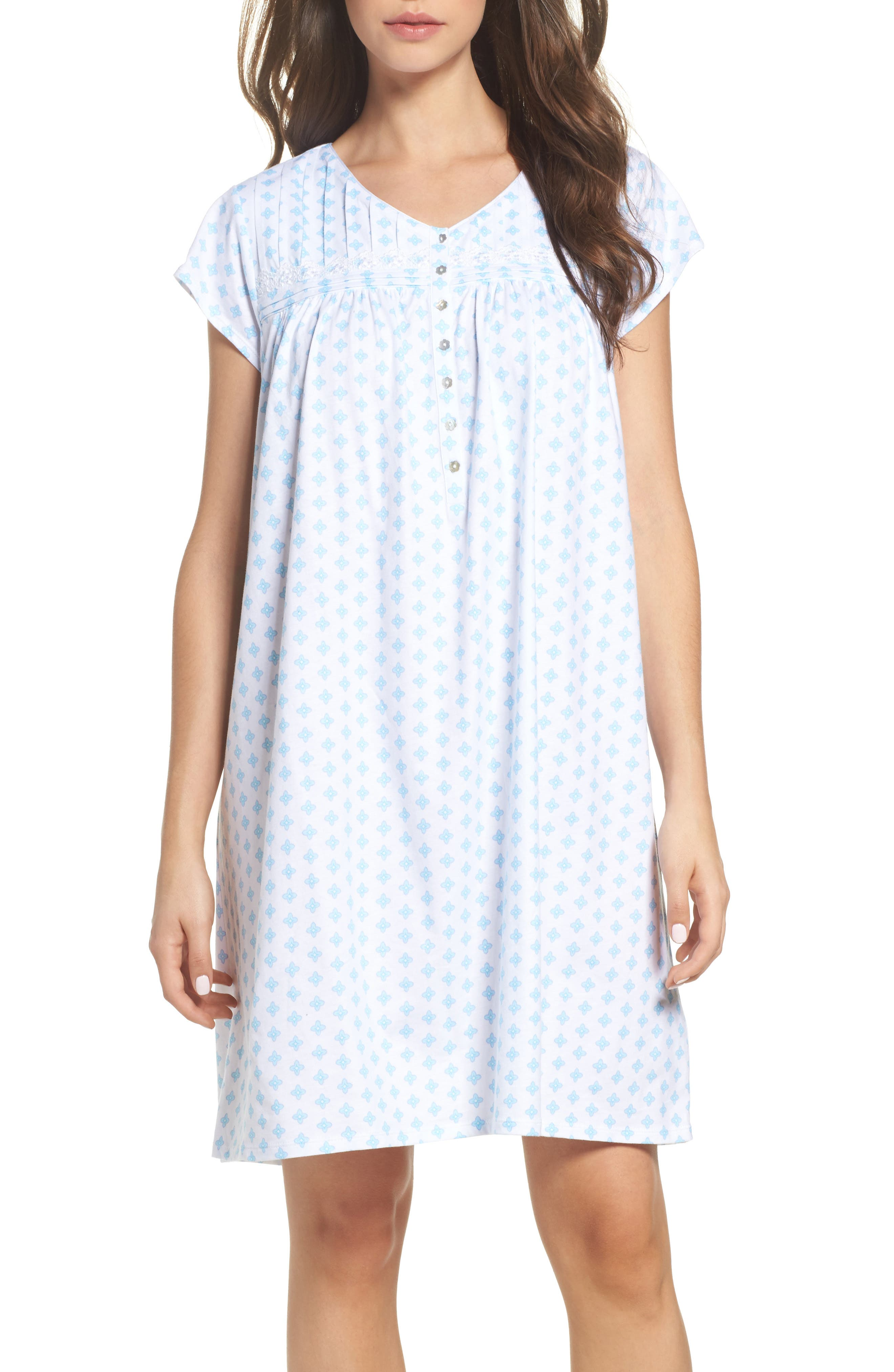 Short Nightgown,                             Main thumbnail 1, color,                             Blue Geo
