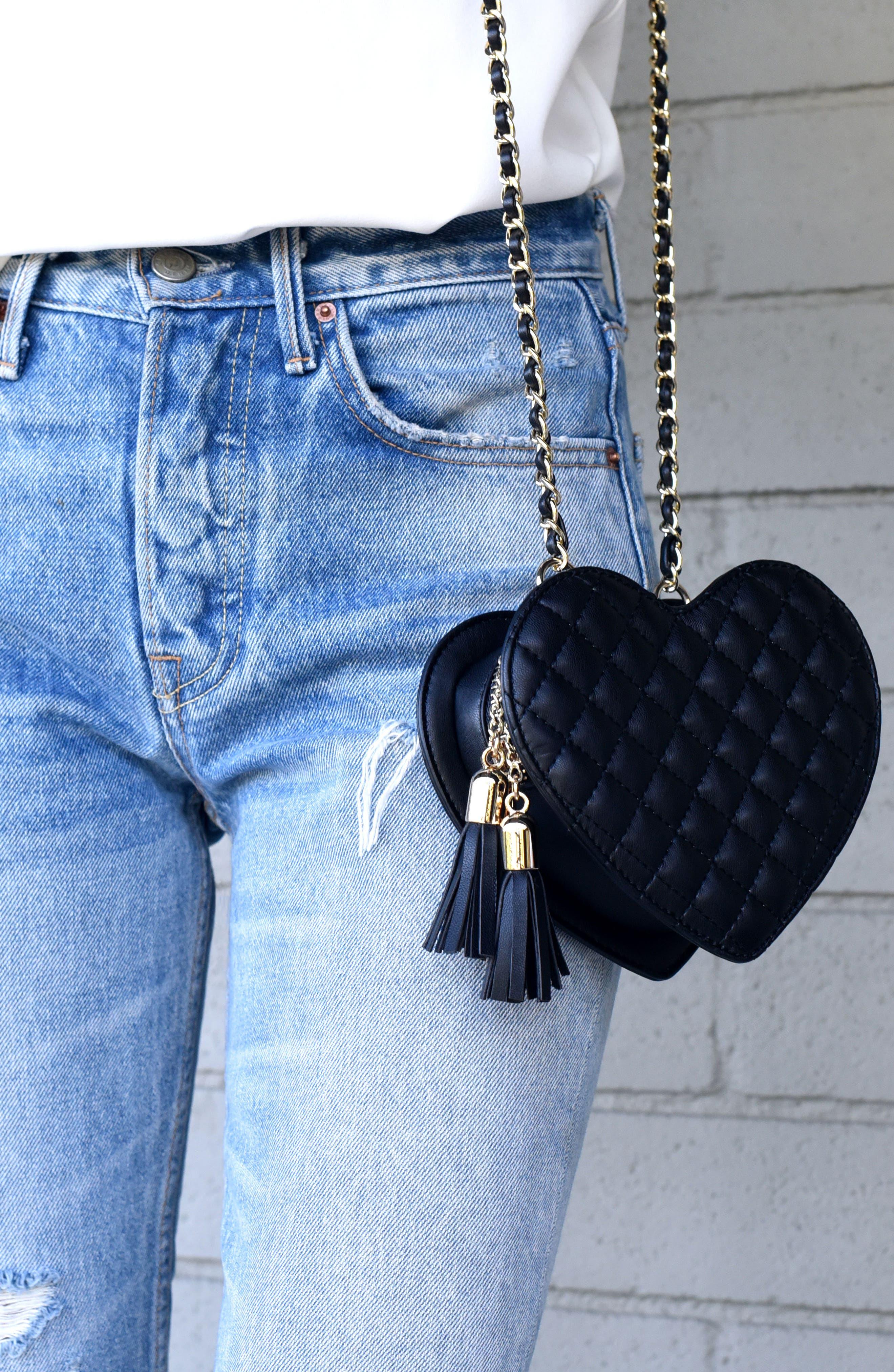 Mali + Lili Quilted Heart Vegan Leather Crossbody Bag,                             Alternate thumbnail 7, color,                             Black