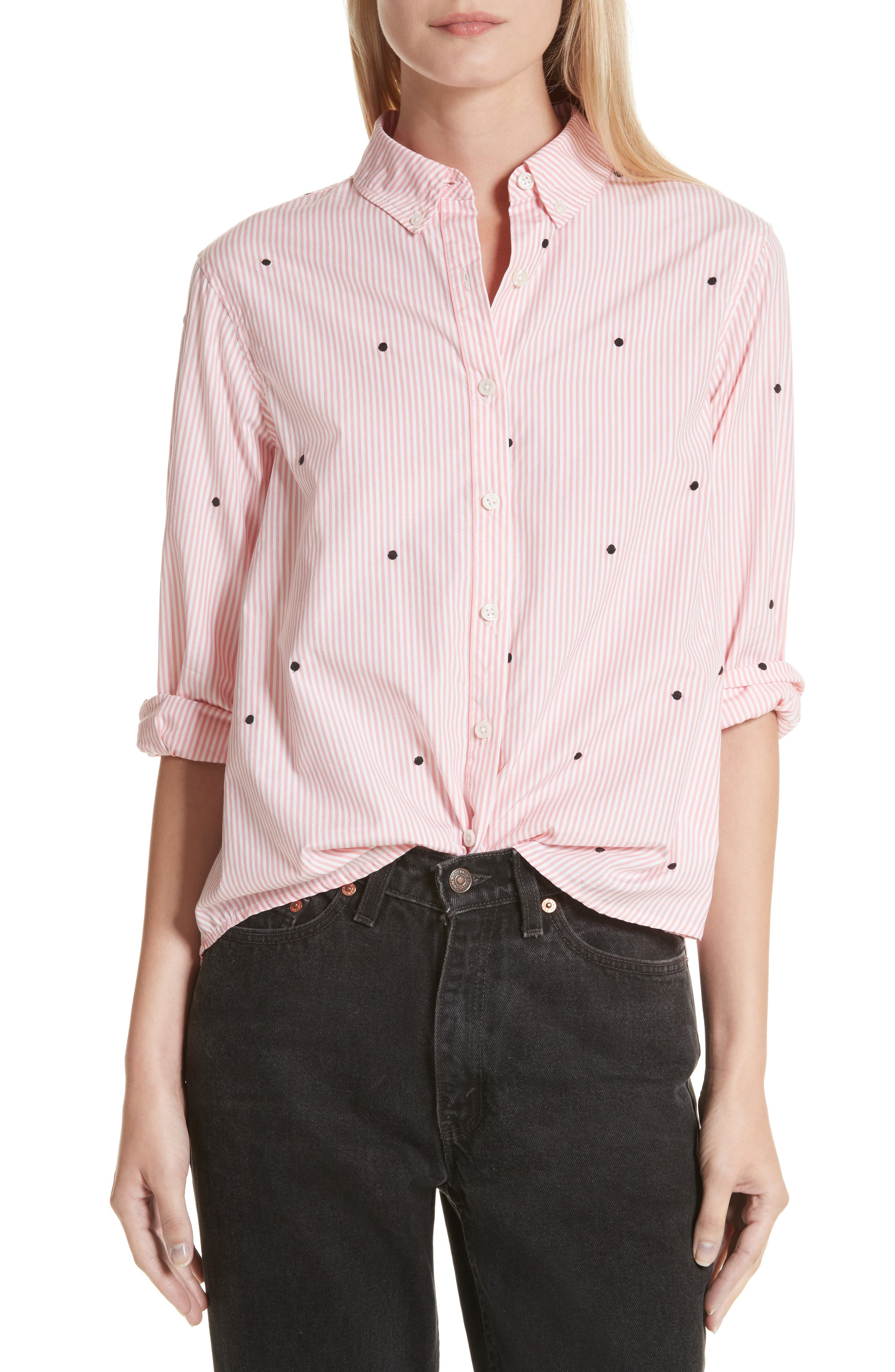 The Swing Oxford Embroidered Shirt,                         Main,                         color, Bubblegum Stripe