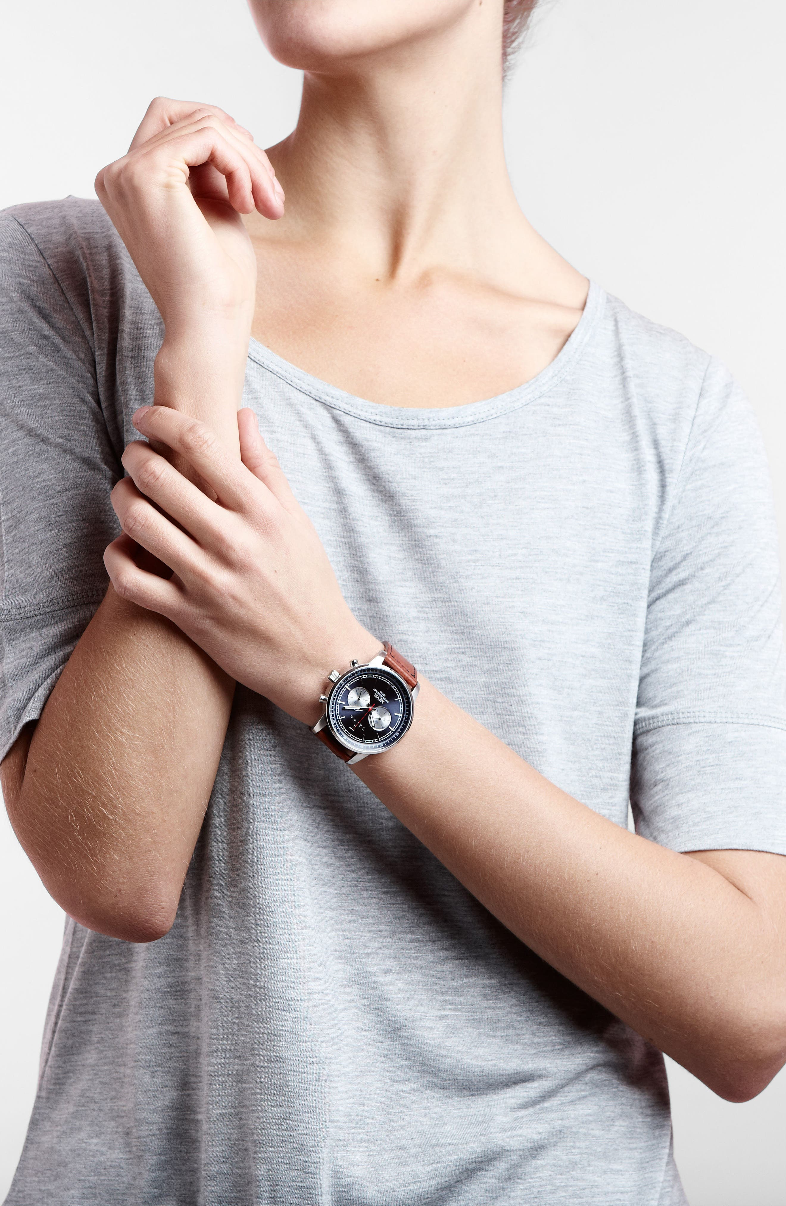 Alternate Image 2  - TRIWA Nevil Chronograph Leather Strap Watch, 42mm