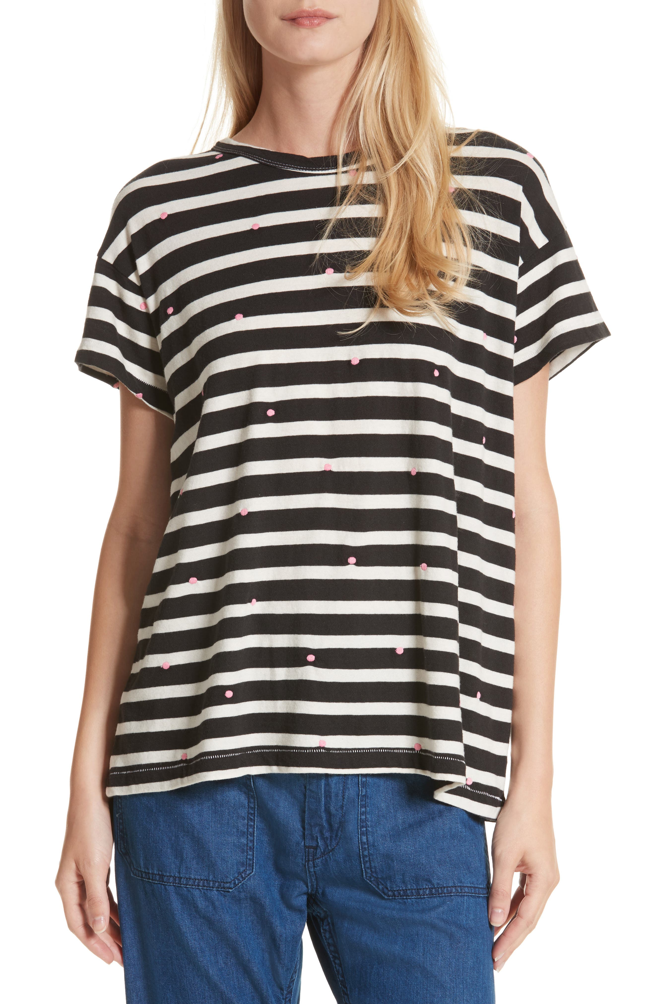 The Boxy Crew Embroidered Dot Tee,                             Main thumbnail 1, color,                             Black/ Cream Stripe