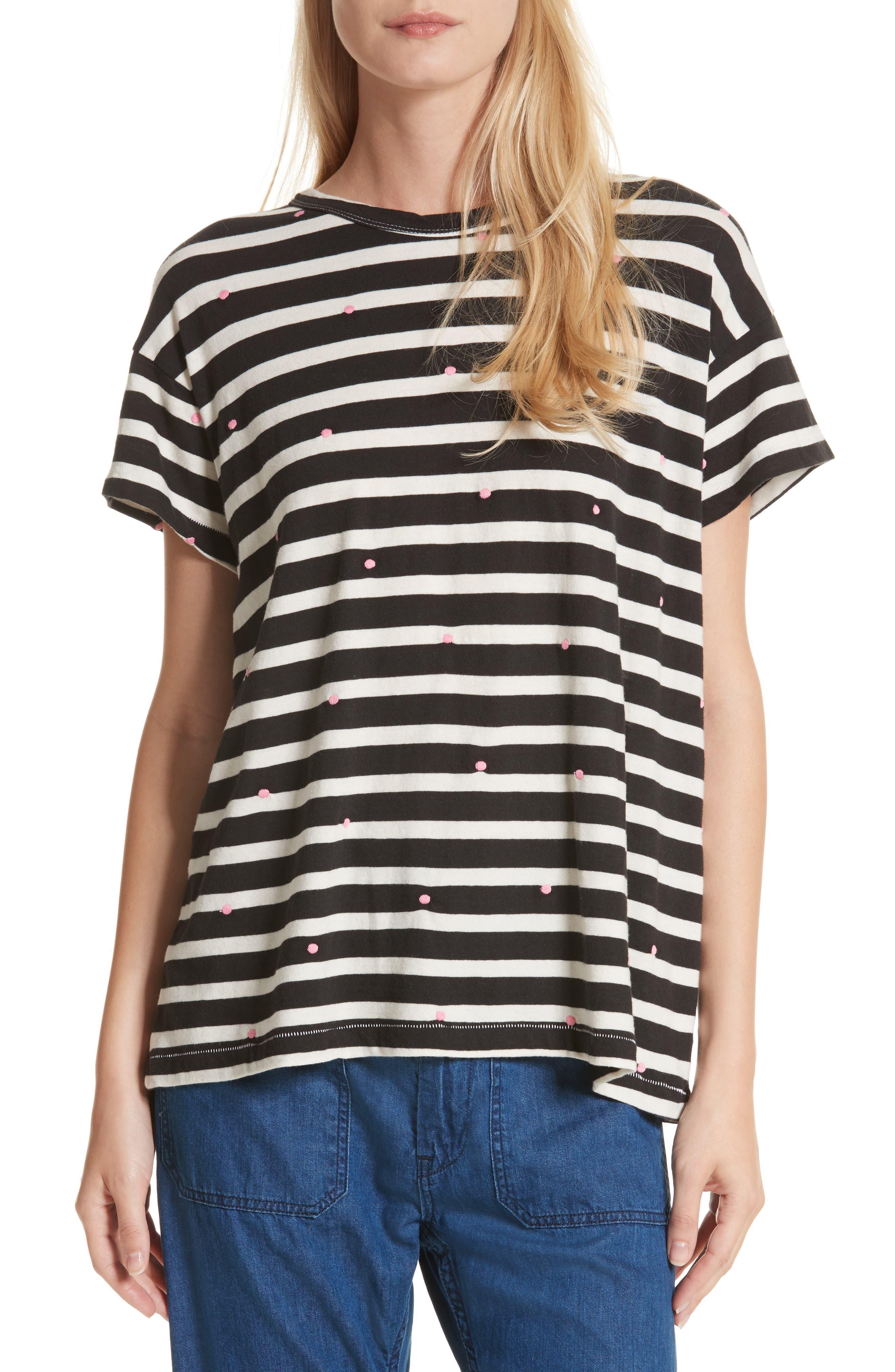 The Boxy Crew Embroidered Dot Tee,                         Main,                         color, Black/ Cream Stripe