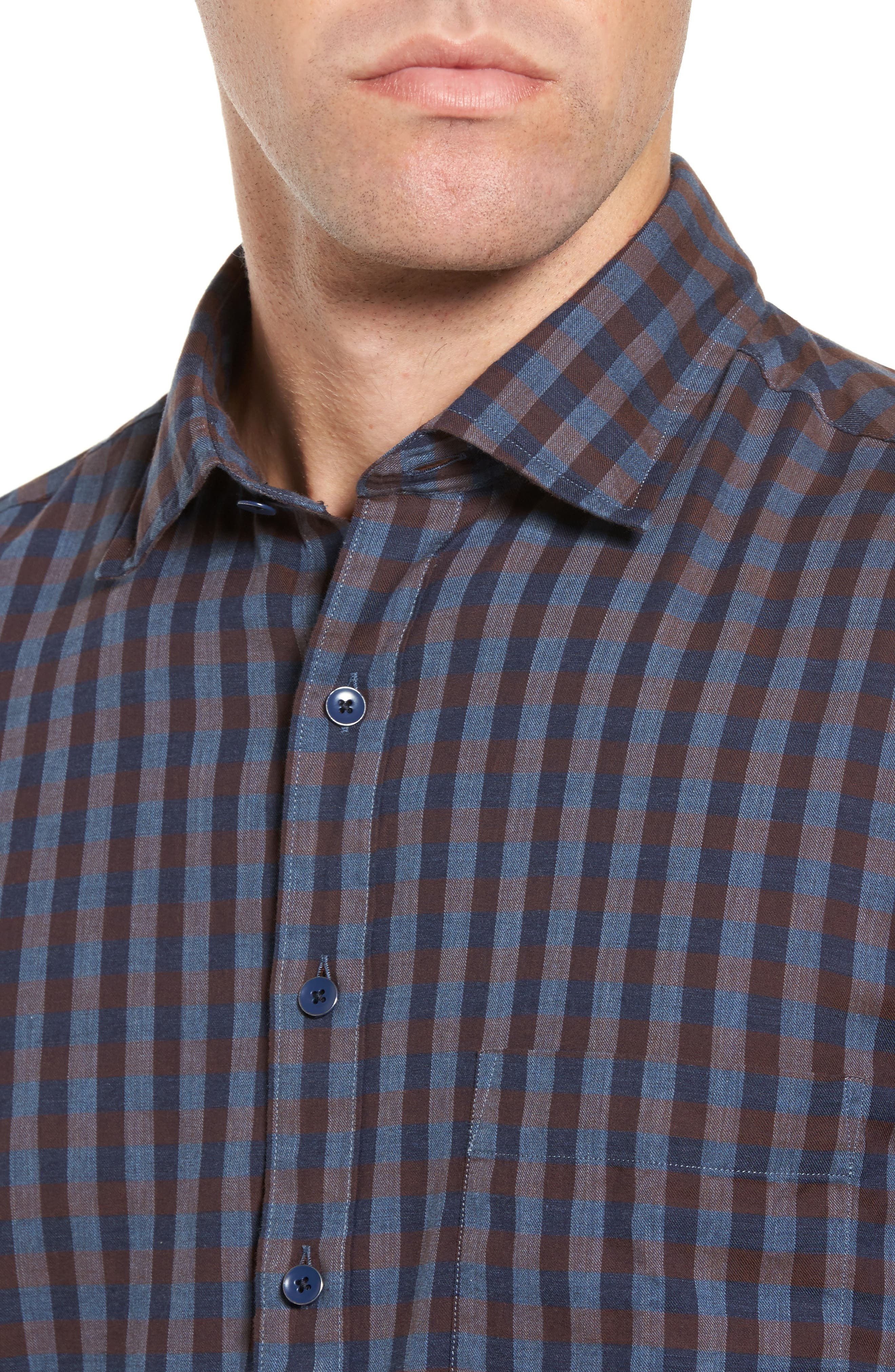 Gisborne Point Check Sport Shirt,                             Alternate thumbnail 4, color,                             River