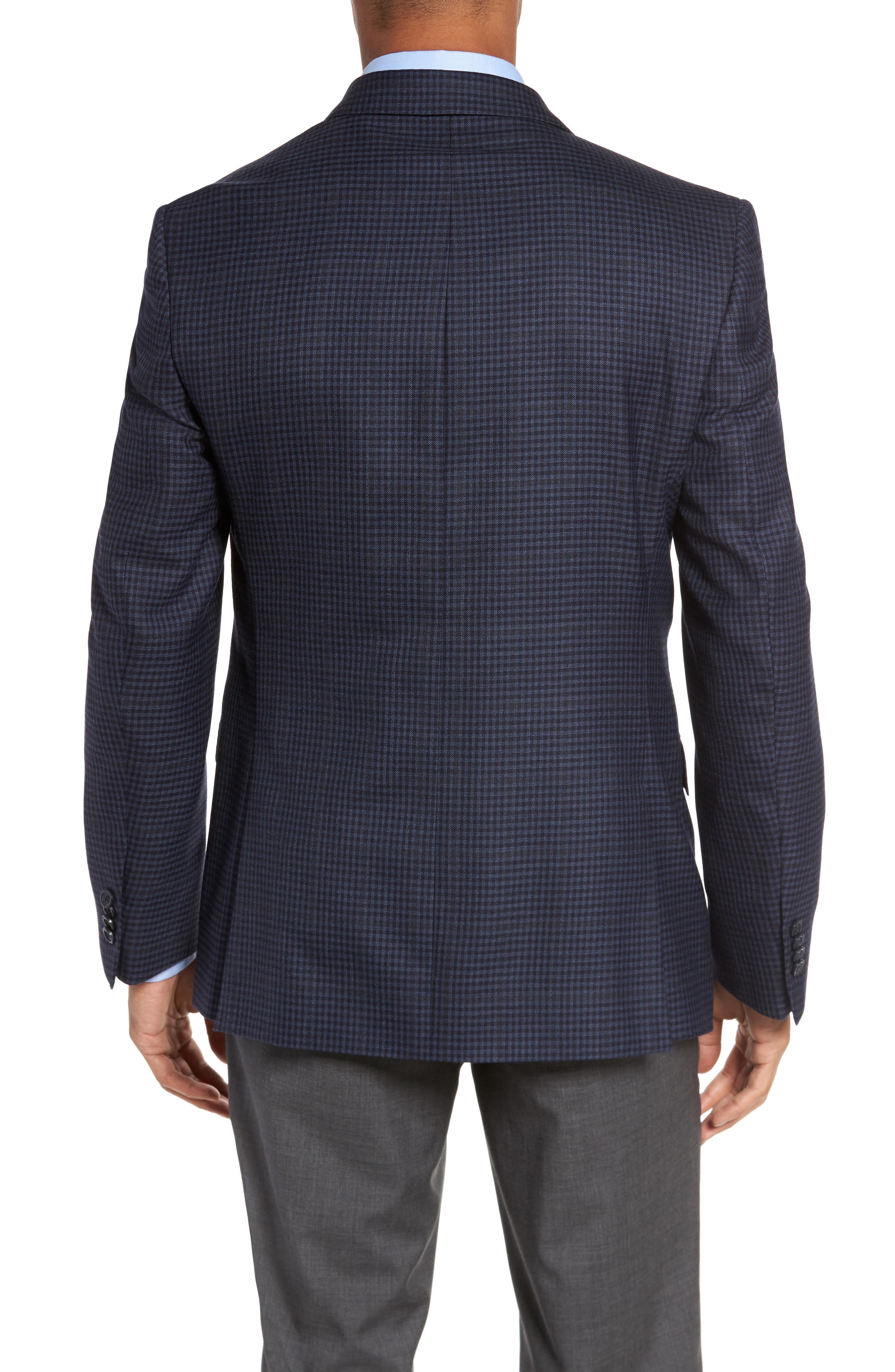Classic Fit Check Wool Sport Coat,                             Alternate thumbnail 2, color,                             Navy