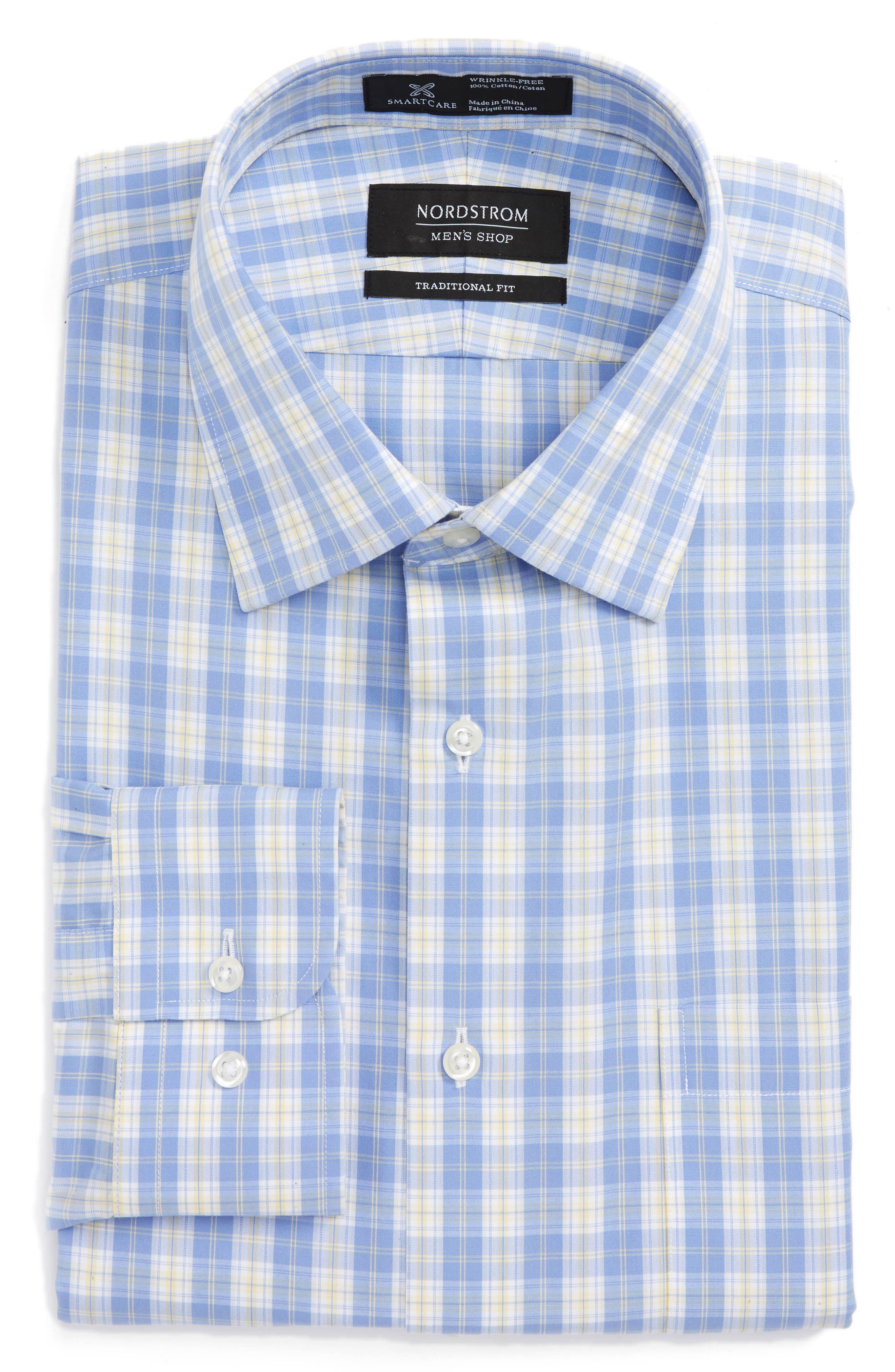Smartcare<sup>™</sup> Traditional Fit Plaid Dress Shirt,                             Main thumbnail 1, color,                             Yellow Clover