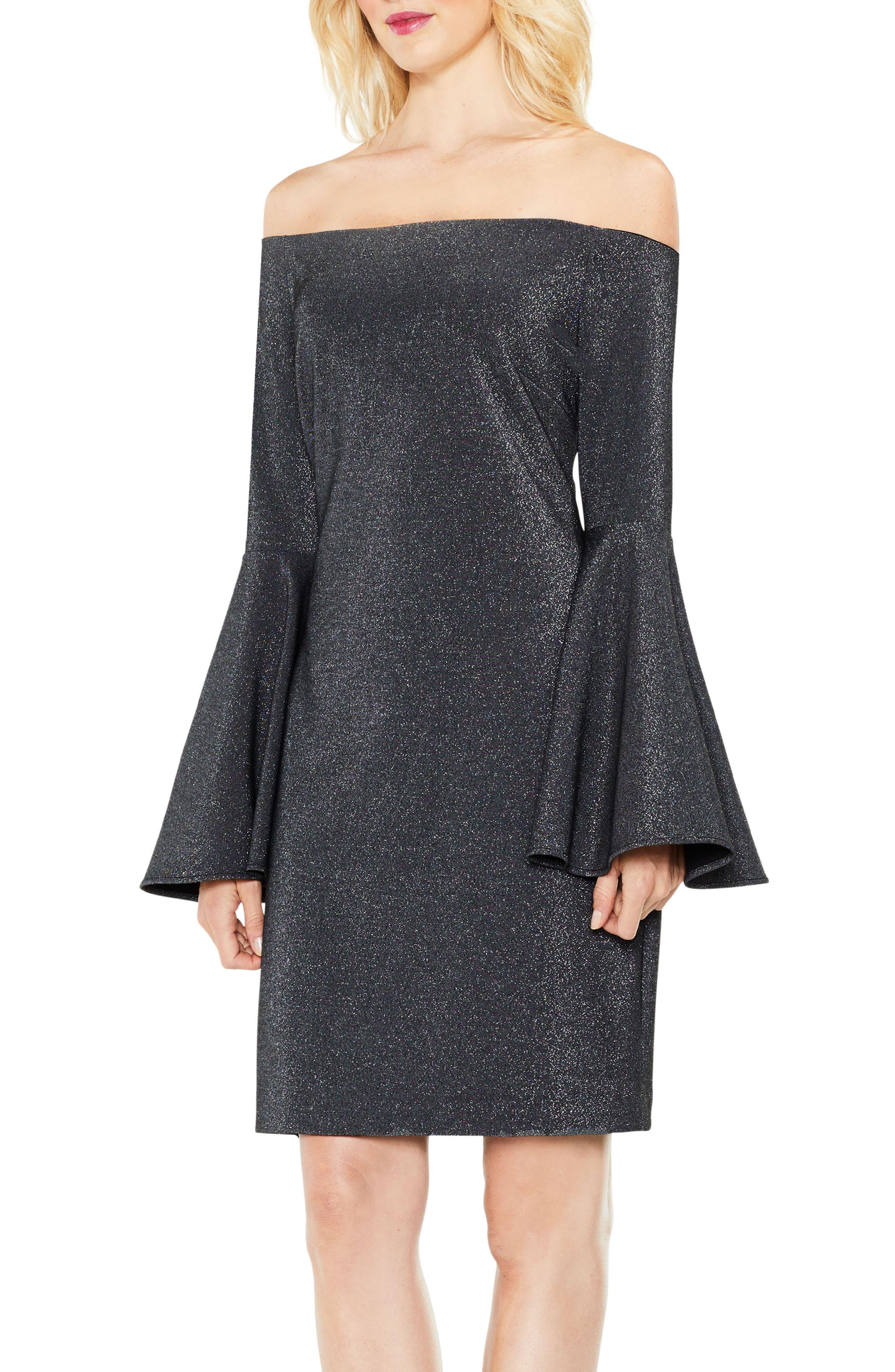 Off the Shoulder Metallic Knit Dress,                             Main thumbnail 1, color,                             Rich Black