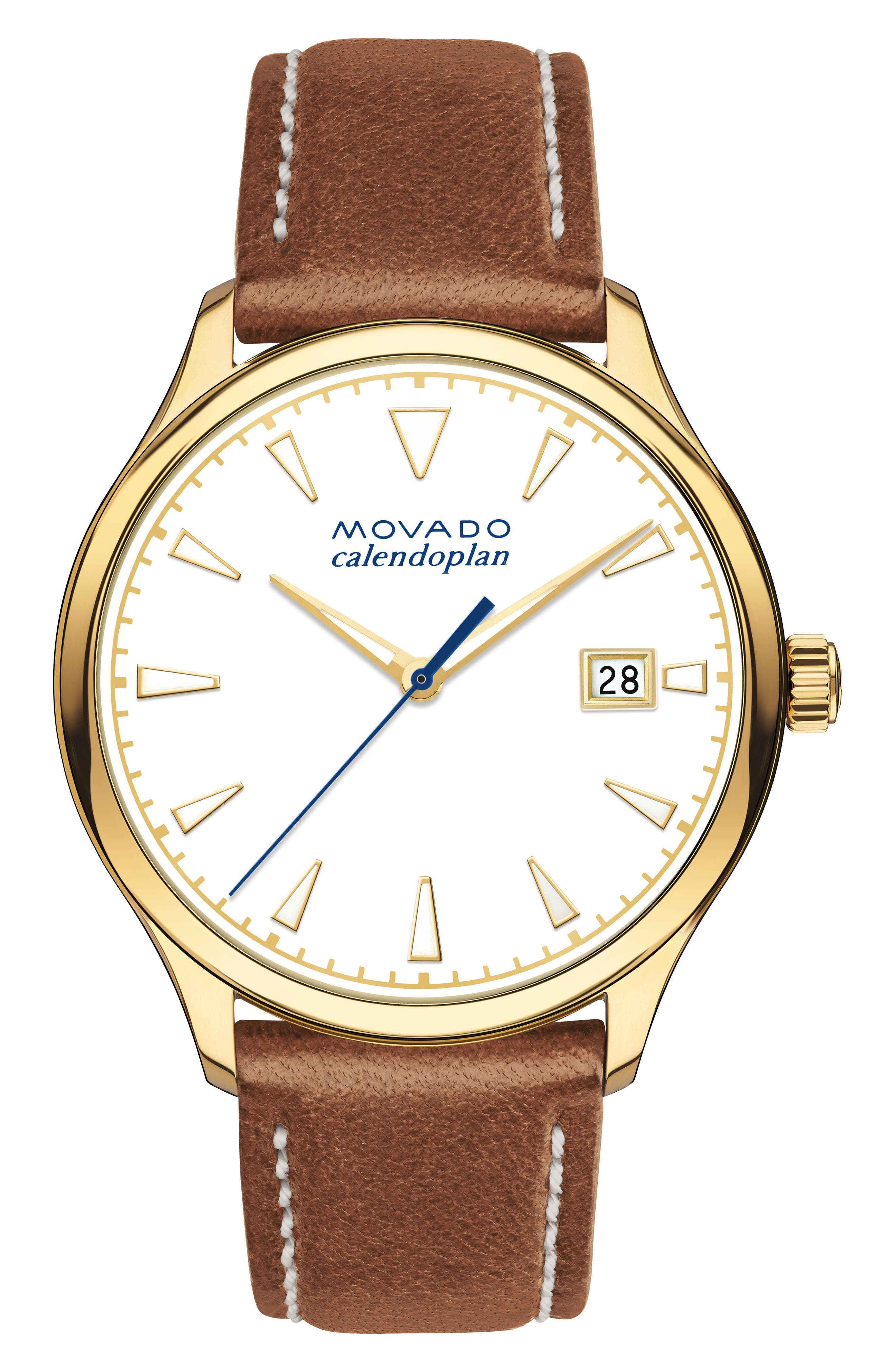 Heritage Calendoplan Leather Strap Watch, 36mm,                         Main,                         color, Cognac/ White/ Gold