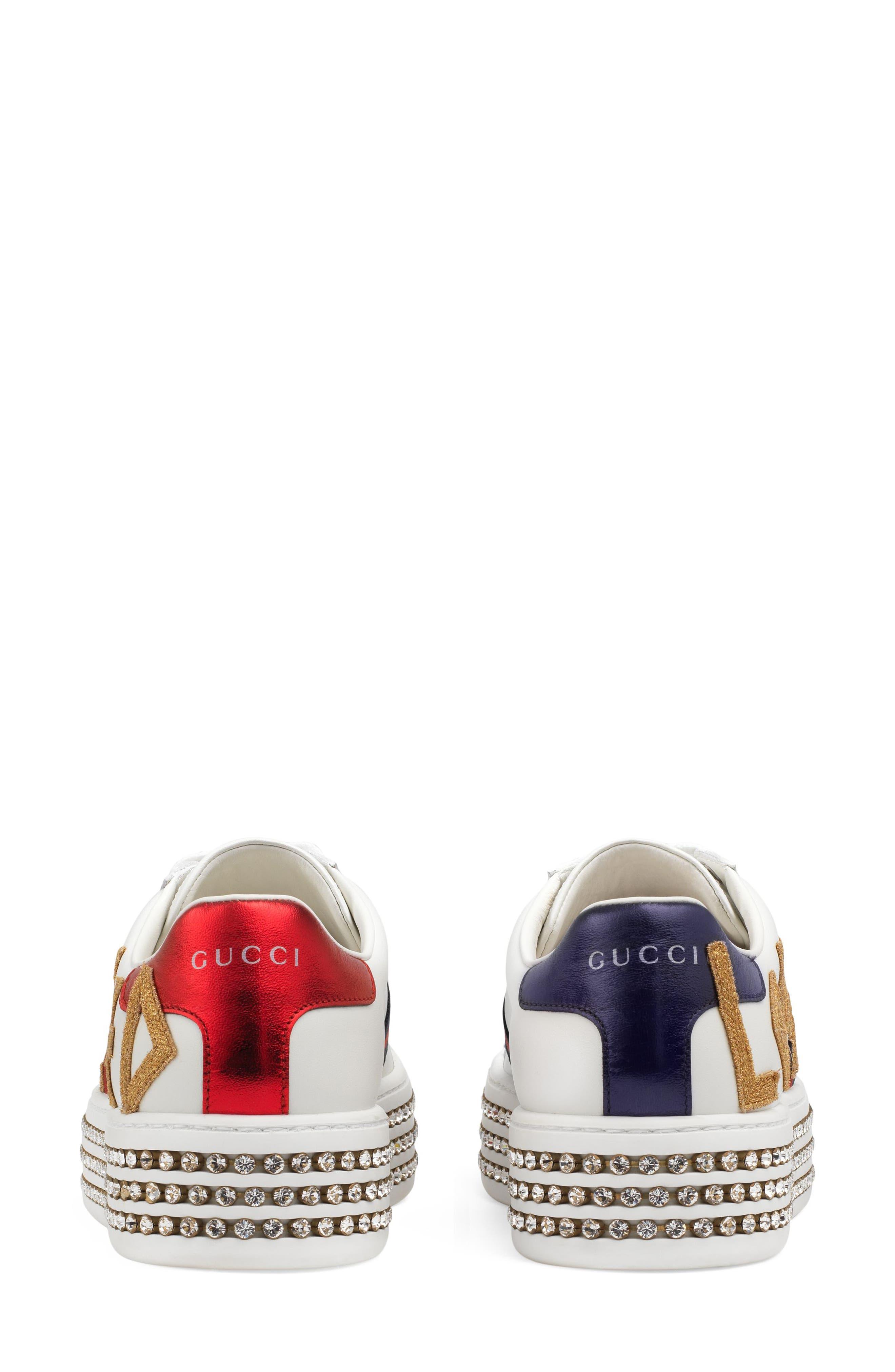 Alternate Image 3  - Gucci New Ace Crystal Embellished Flatform Sneaker (Women)