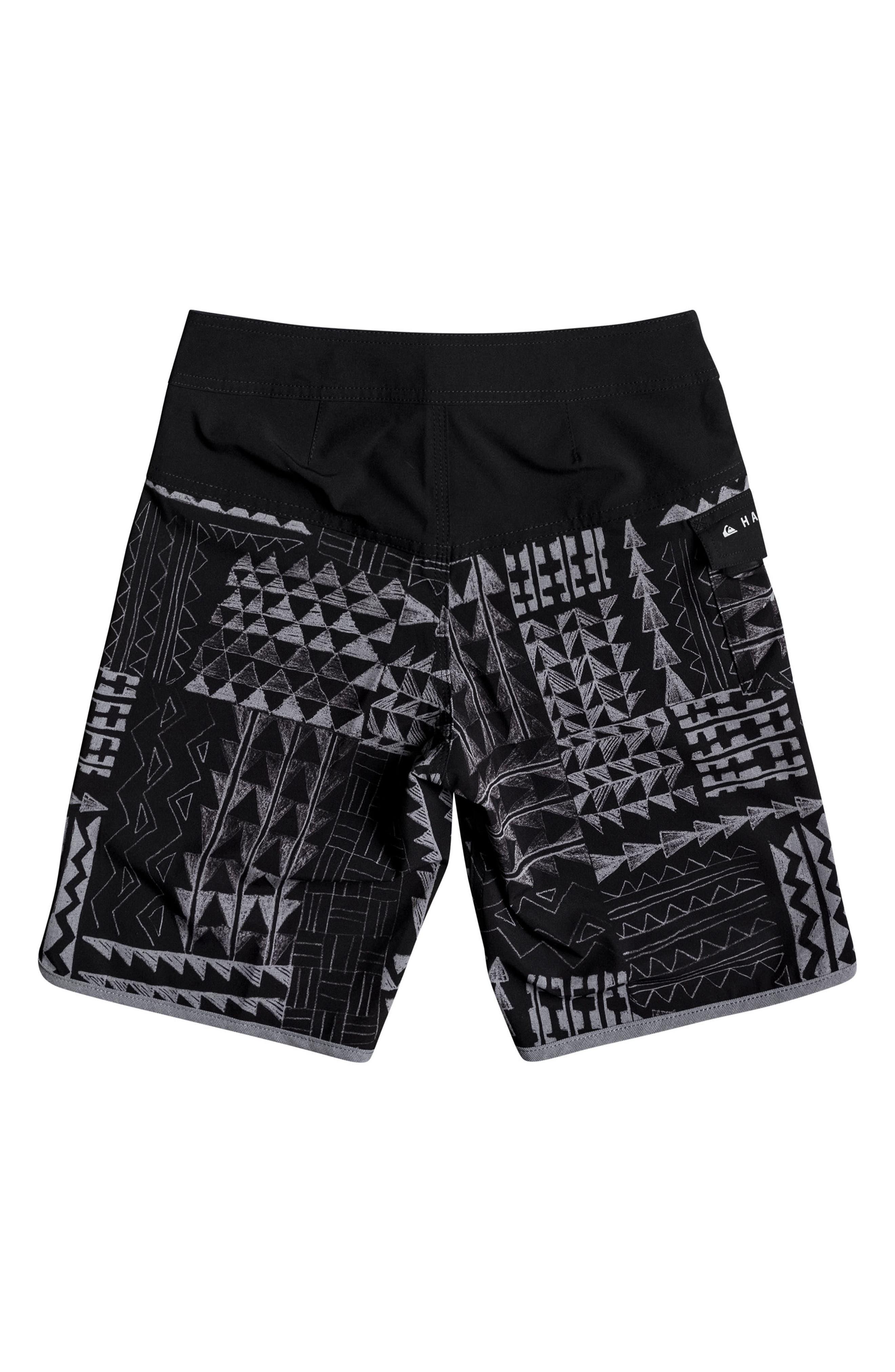 Hawaii Scallop Board Shorts,                             Alternate thumbnail 2, color,                             Black
