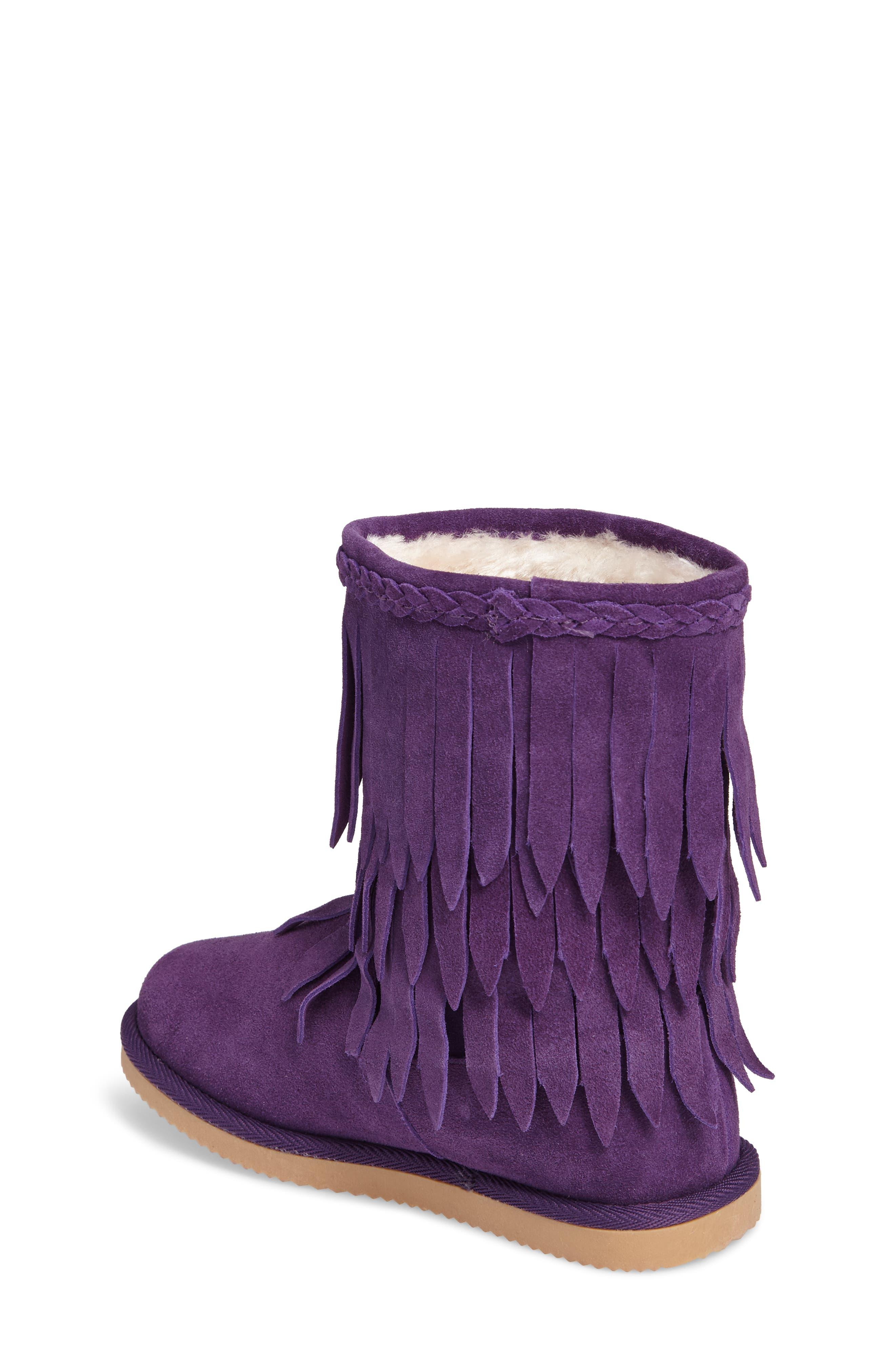 Elissa Faux Fur Fringed Bootie,                             Alternate thumbnail 2, color,                             Purple Suede