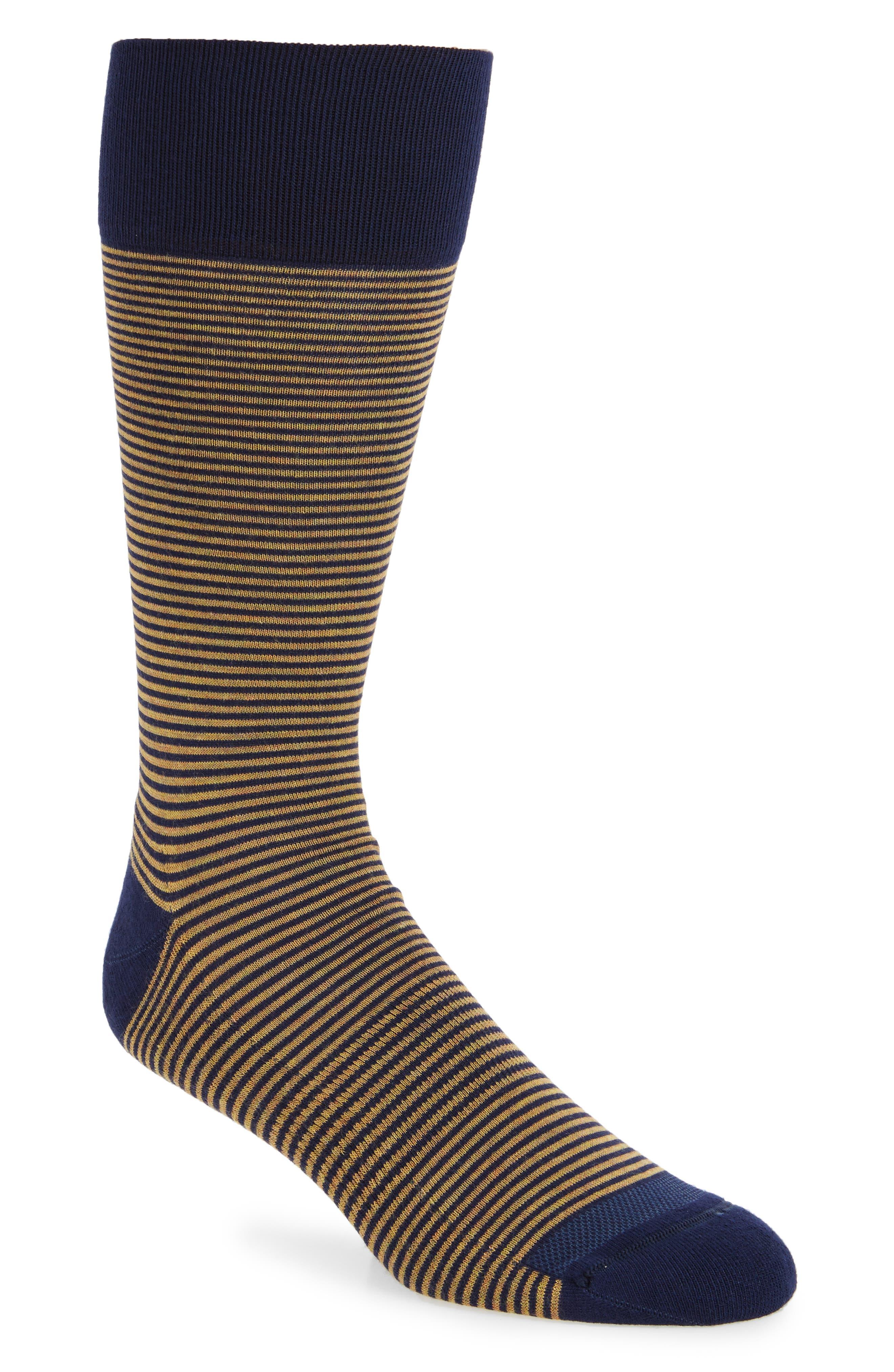 Feeder Stripe Socks,                         Main,                         color, Navy/ Gold