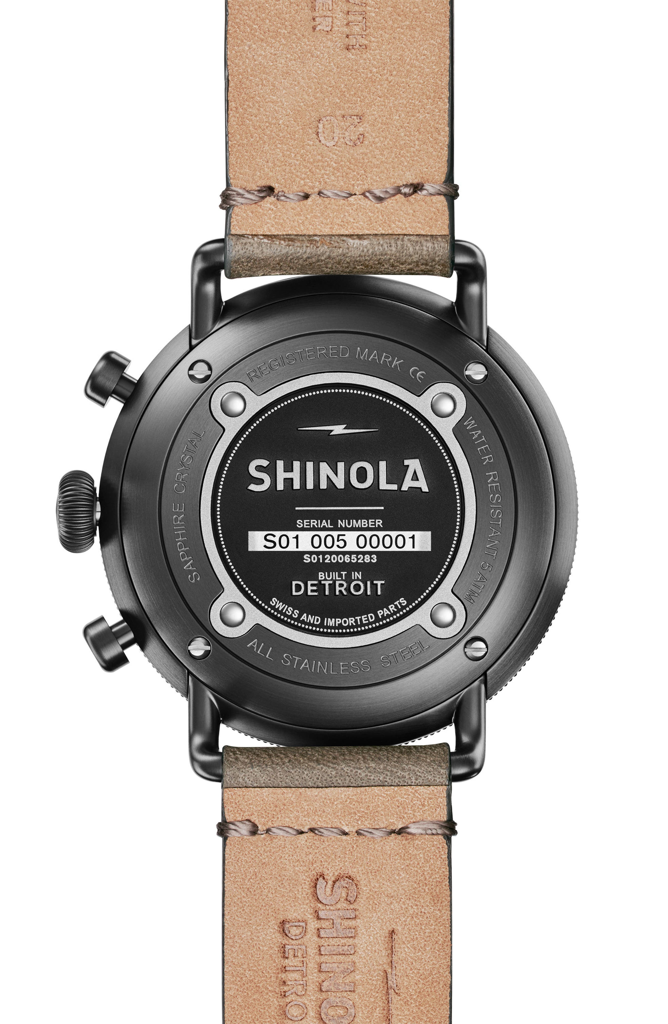 The Canfield Chrono Leather Strap Watch, 43mm,                             Alternate thumbnail 3, color,                             Grey/ Pine/ Silver