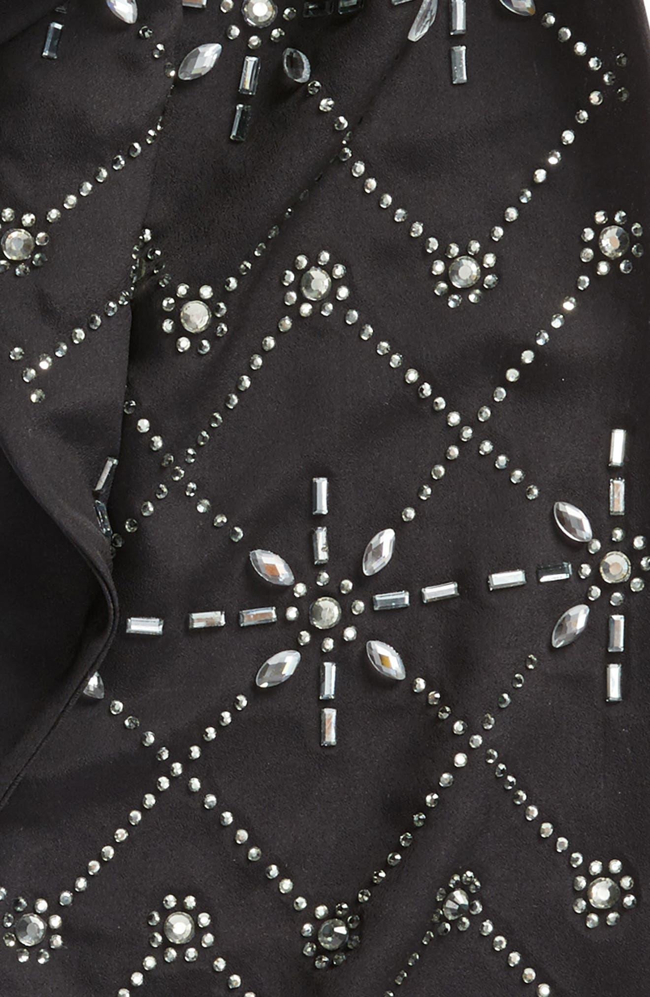 Hot Fix Embellished Skinny Scarf,                             Alternate thumbnail 4, color,                             00-Black