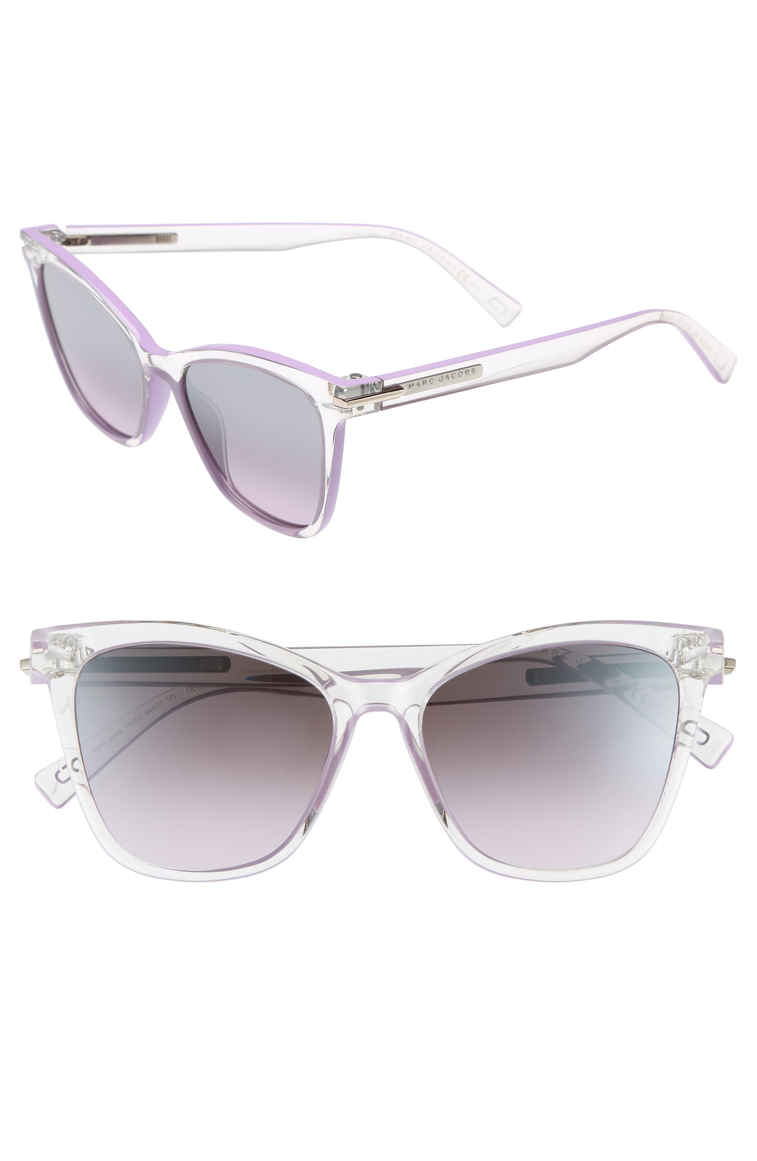 54mm Gradient Lens Sunglasses,                             Main thumbnail 1, color,                             Crystal Clear Violet