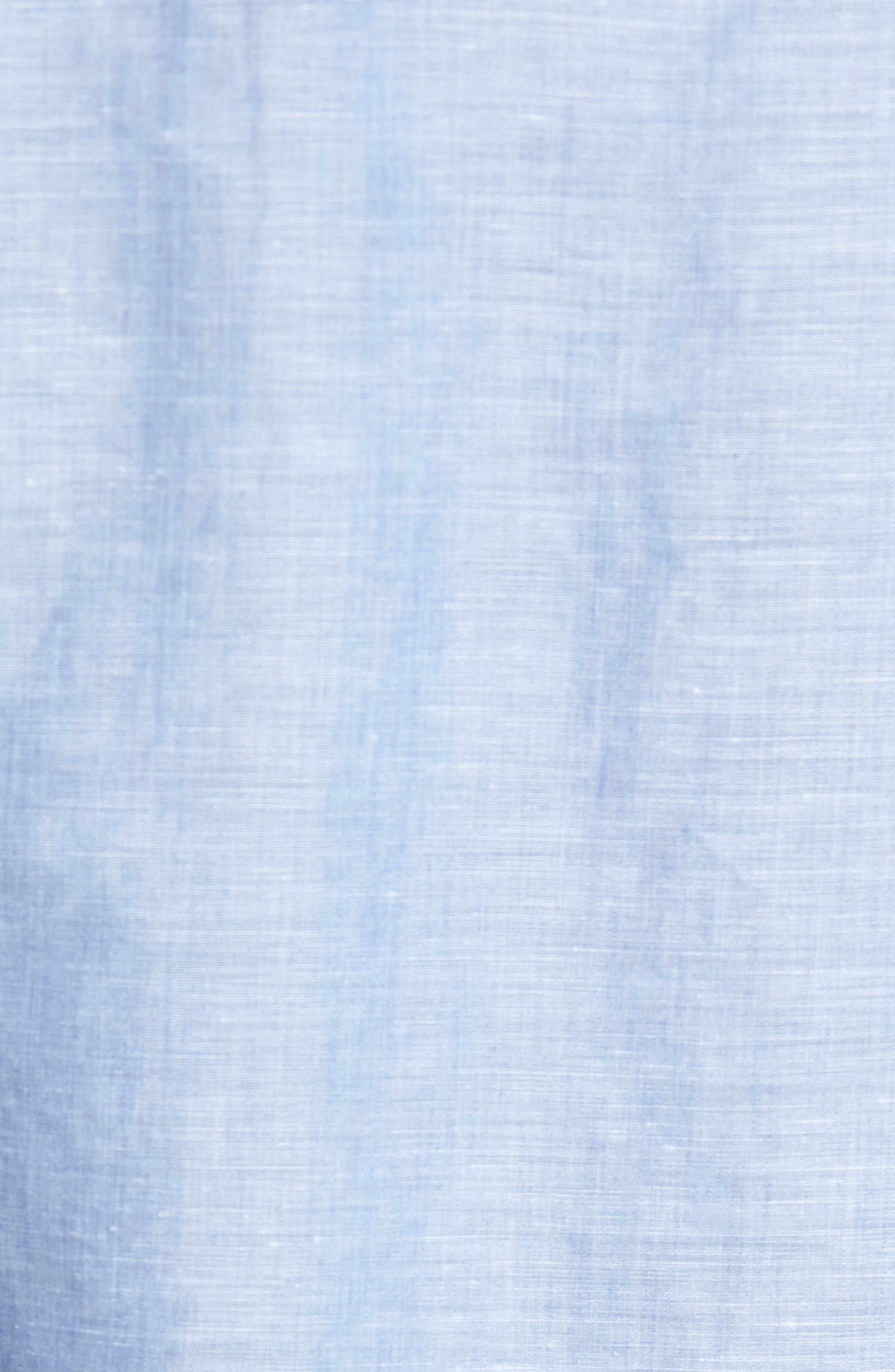 Linen & Cotton Sport Shirt,                             Alternate thumbnail 5, color,                             Blue Jean