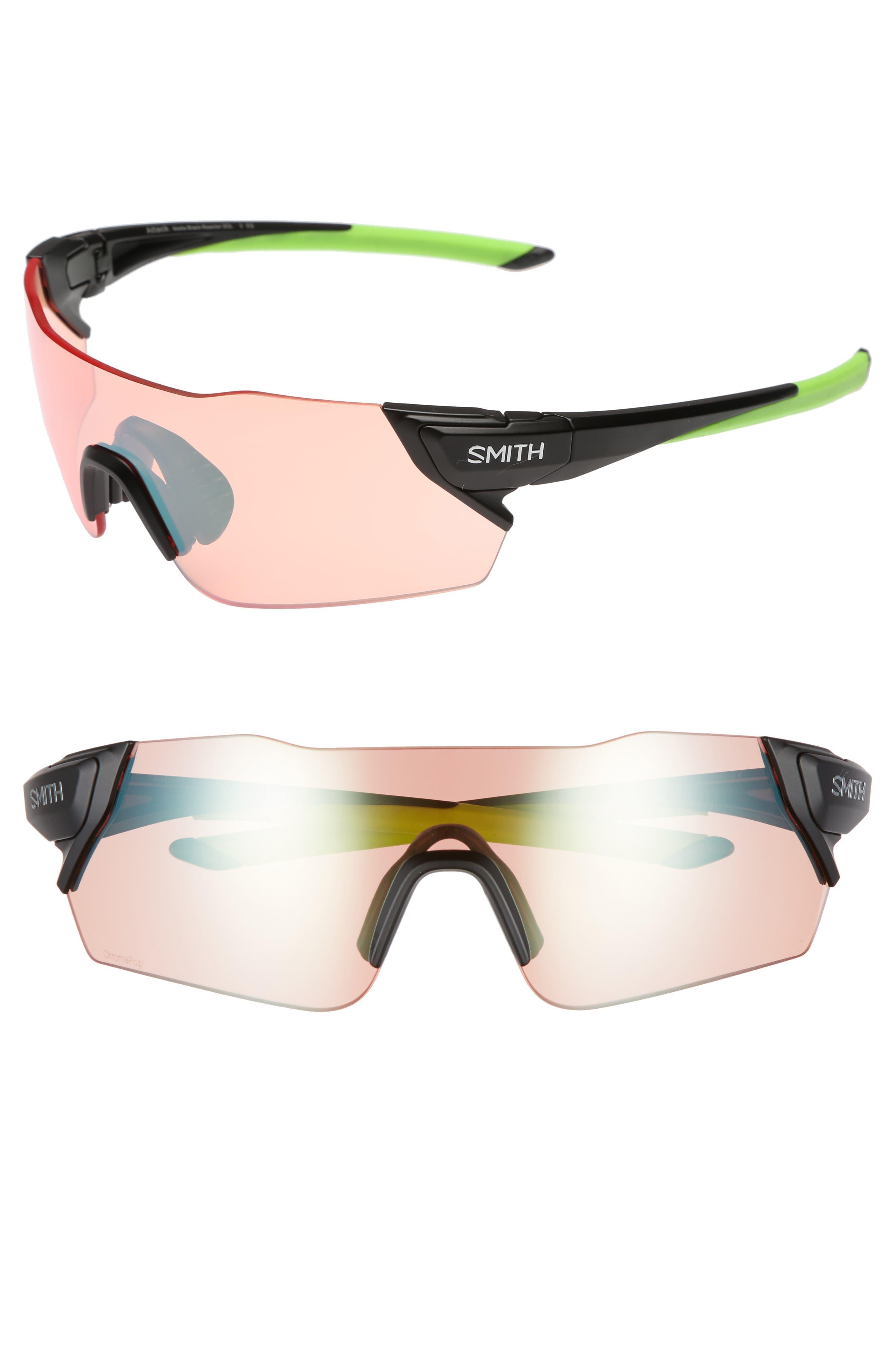 Attack 125mm ChromaPop<sup>™</sup> Polarized Shield Sunglasses,                         Main,                         color, Matte Black Reactor/ Green