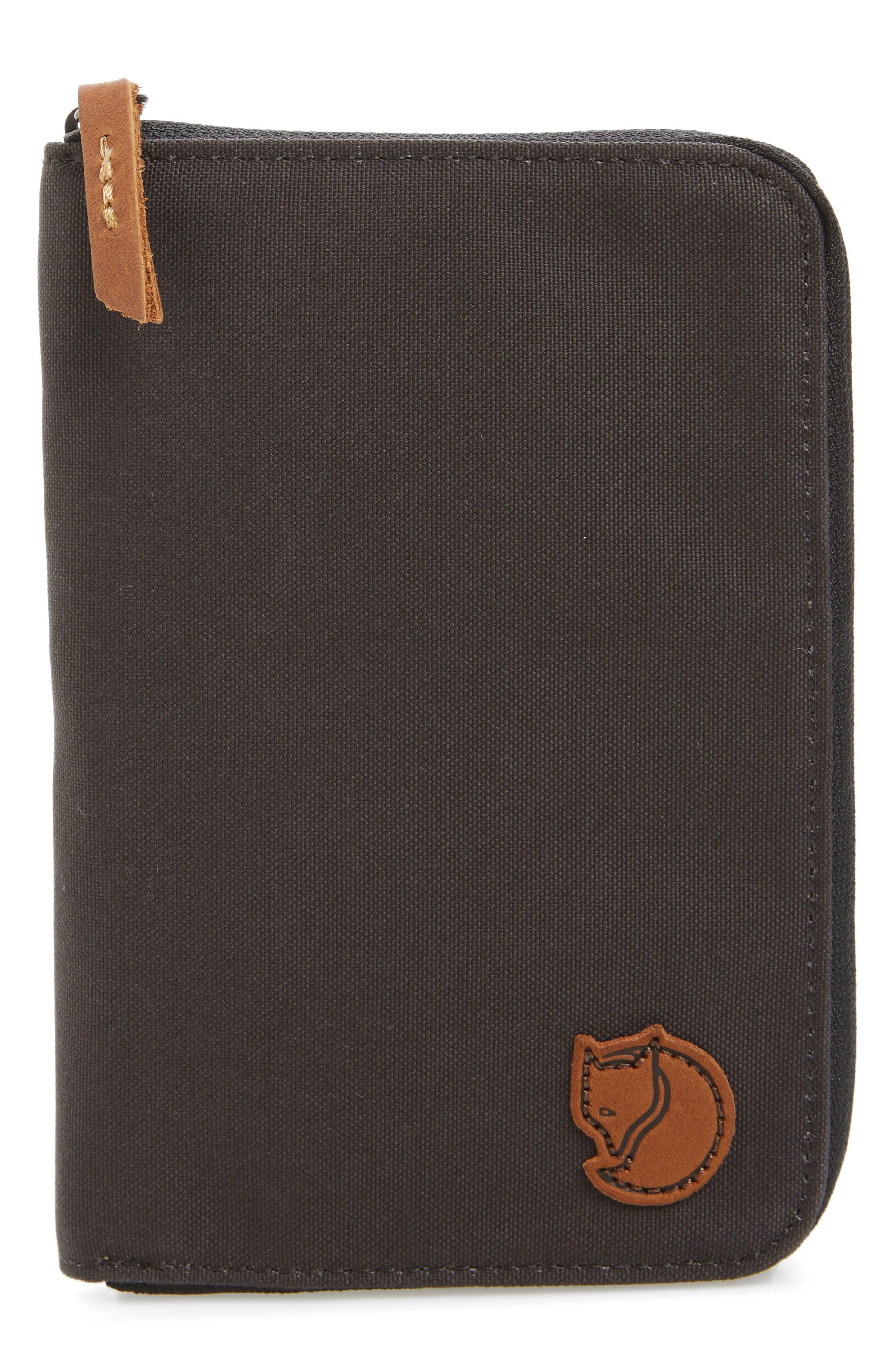 Canvas Passport Wallet,                             Main thumbnail 1, color,                             Dark Grey