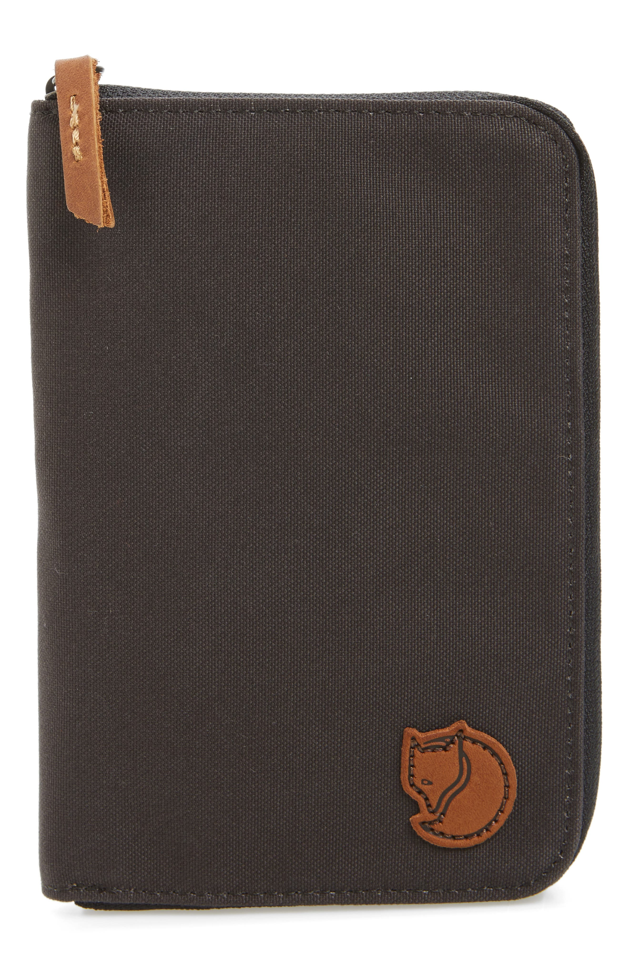 Canvas Passport Wallet,                         Main,                         color, Dark Grey