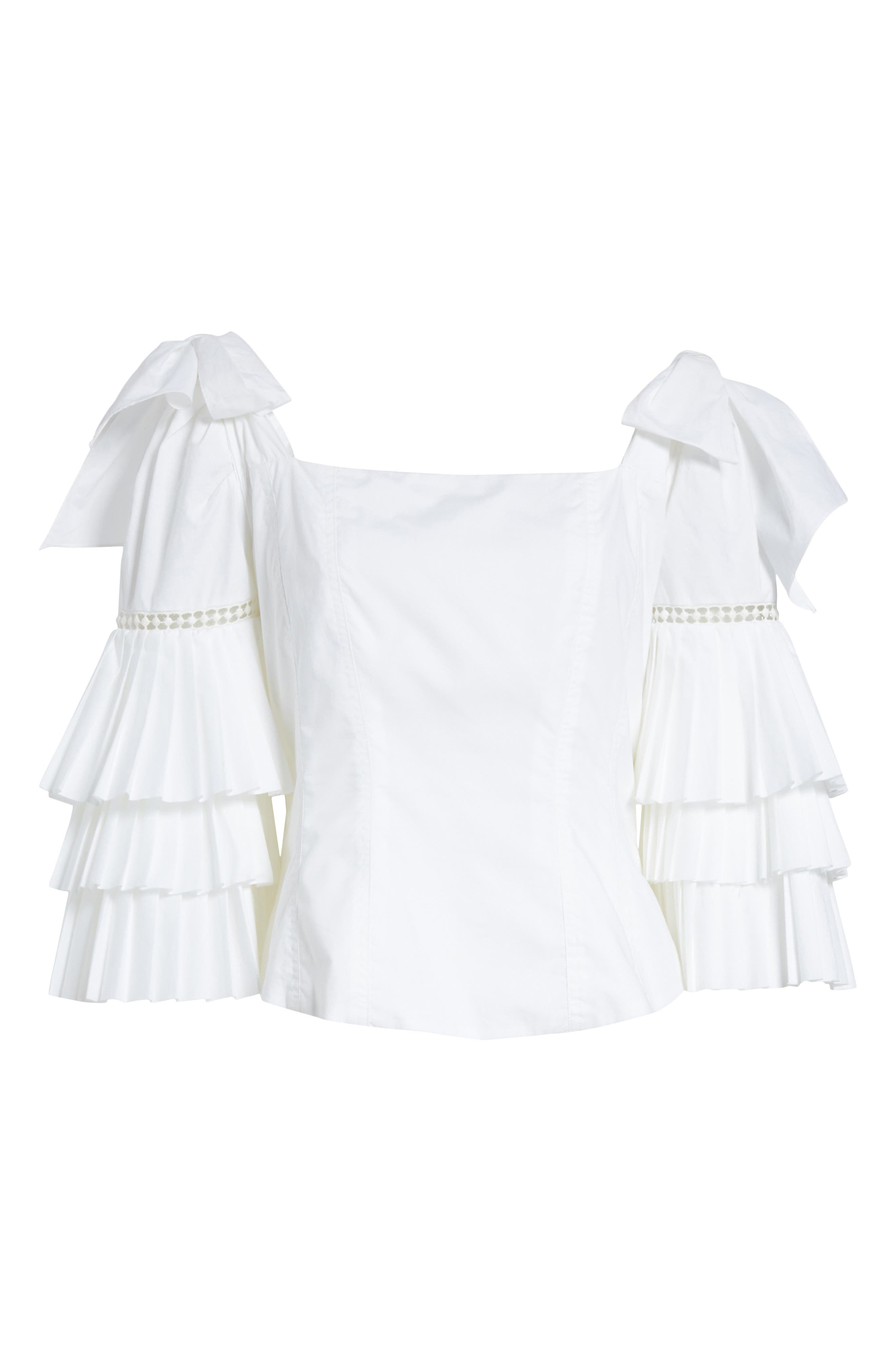 Antoinette Ruffle Sleeve Blouse,                             Alternate thumbnail 7, color,                             White
