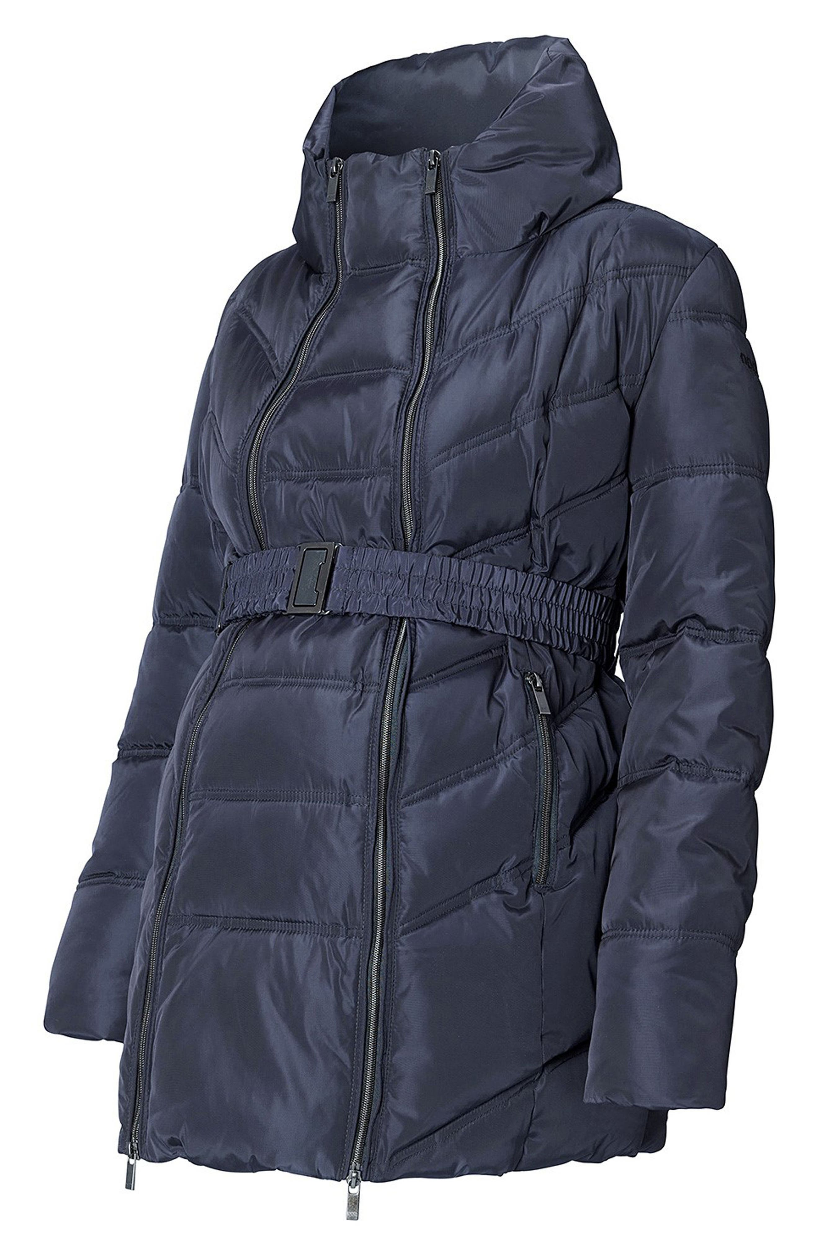 Lise Two-Way Quilted Maternity Jacket,                             Alternate thumbnail 4, color,                             Dark Blue