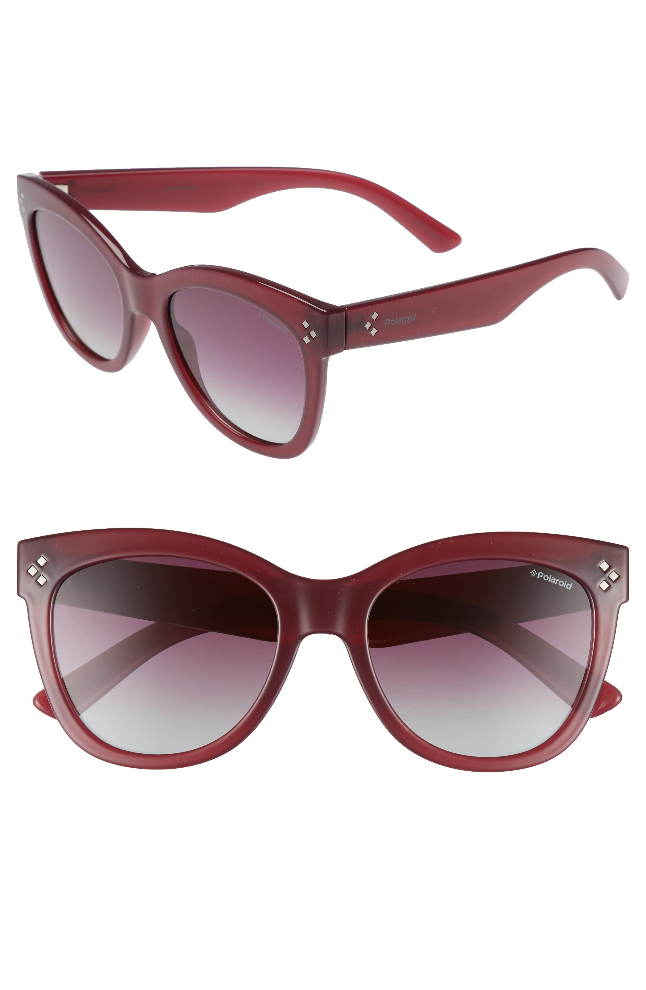 54mm Polarized Sunglasses,                             Main thumbnail 1, color,                             Red