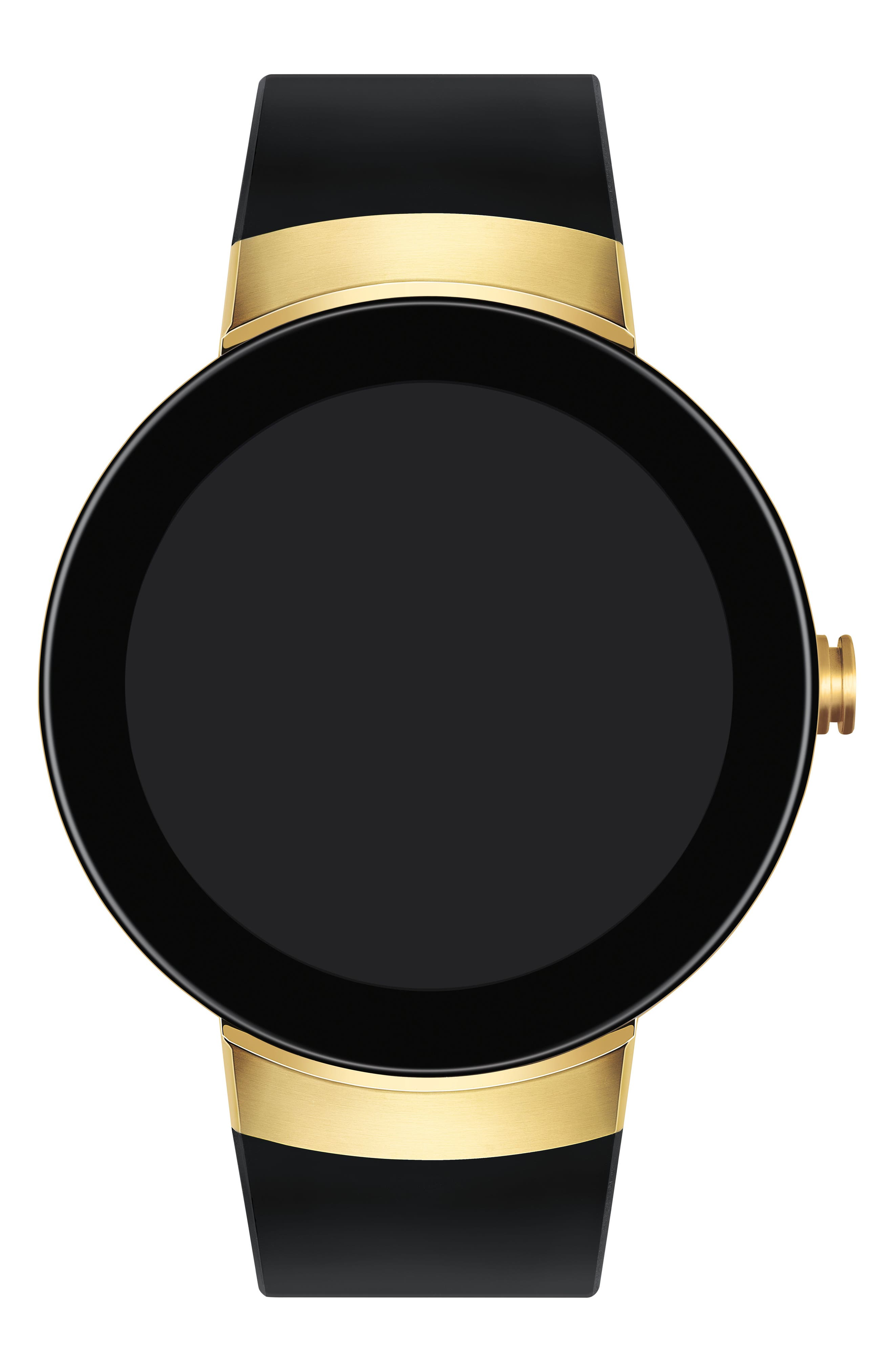 Connect Silicone Strap Smart Watch, 46mm,                             Alternate thumbnail 6, color,                             Black/ Gold